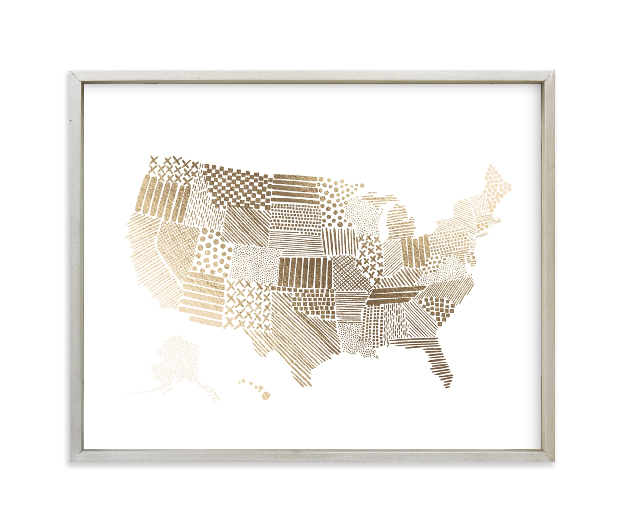 """""""Stylized United States Map"""" - [non-custom] Foil-pressed Art Print by Jessie Steury in beautiful frame options and a variety of sizes."""