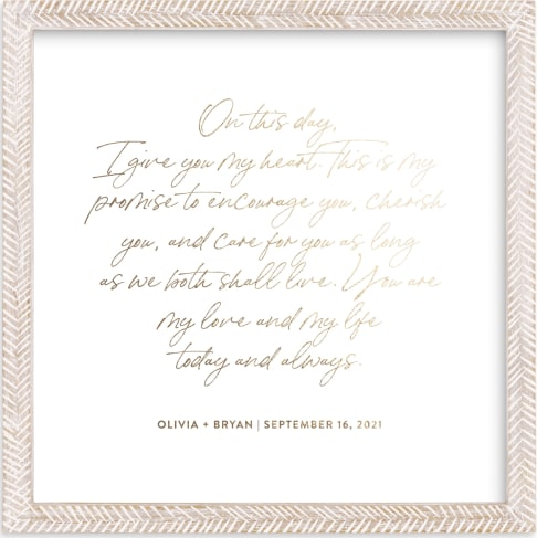 This is a gold photos to art by Minted called Your Vows as a Foil Art Print.