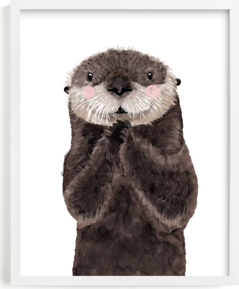 This is a brown kids wall art by Cass Loh called Baby Animal Sea Otter.