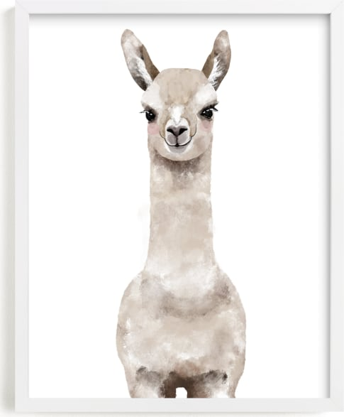 This is a brown kids wall art by Cass Loh called Baby Animal Llama.