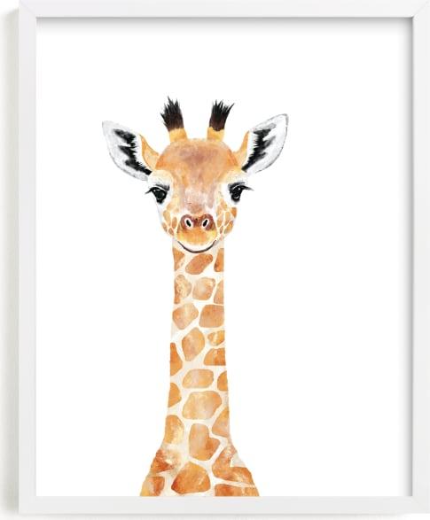 This is a beige art by Cass Loh called Baby Giraffe 2.