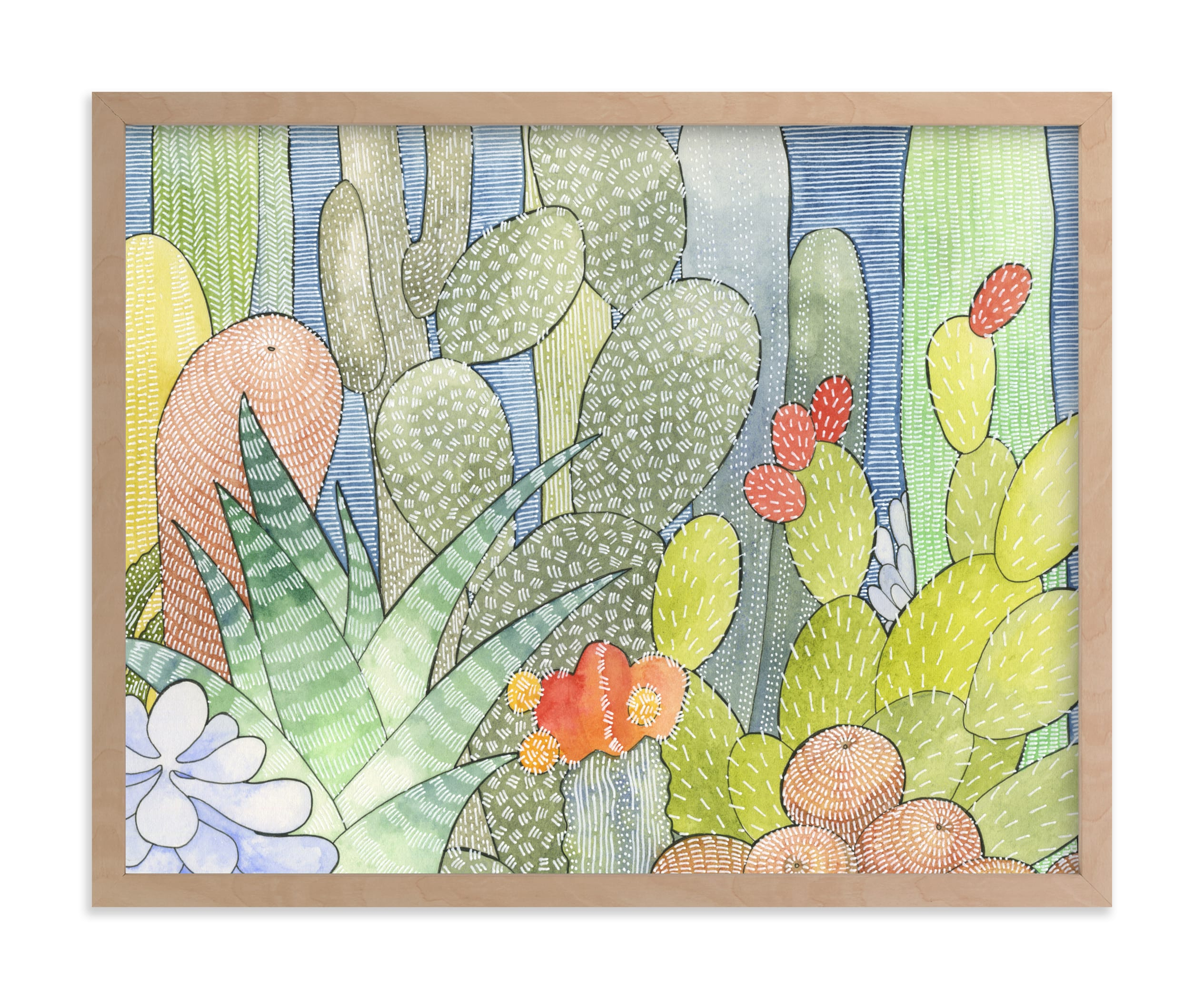 """""""Garden of Cacti 1"""" - Limited Edition Art Print by Natalie Groves in beautiful frame options and a variety of sizes."""
