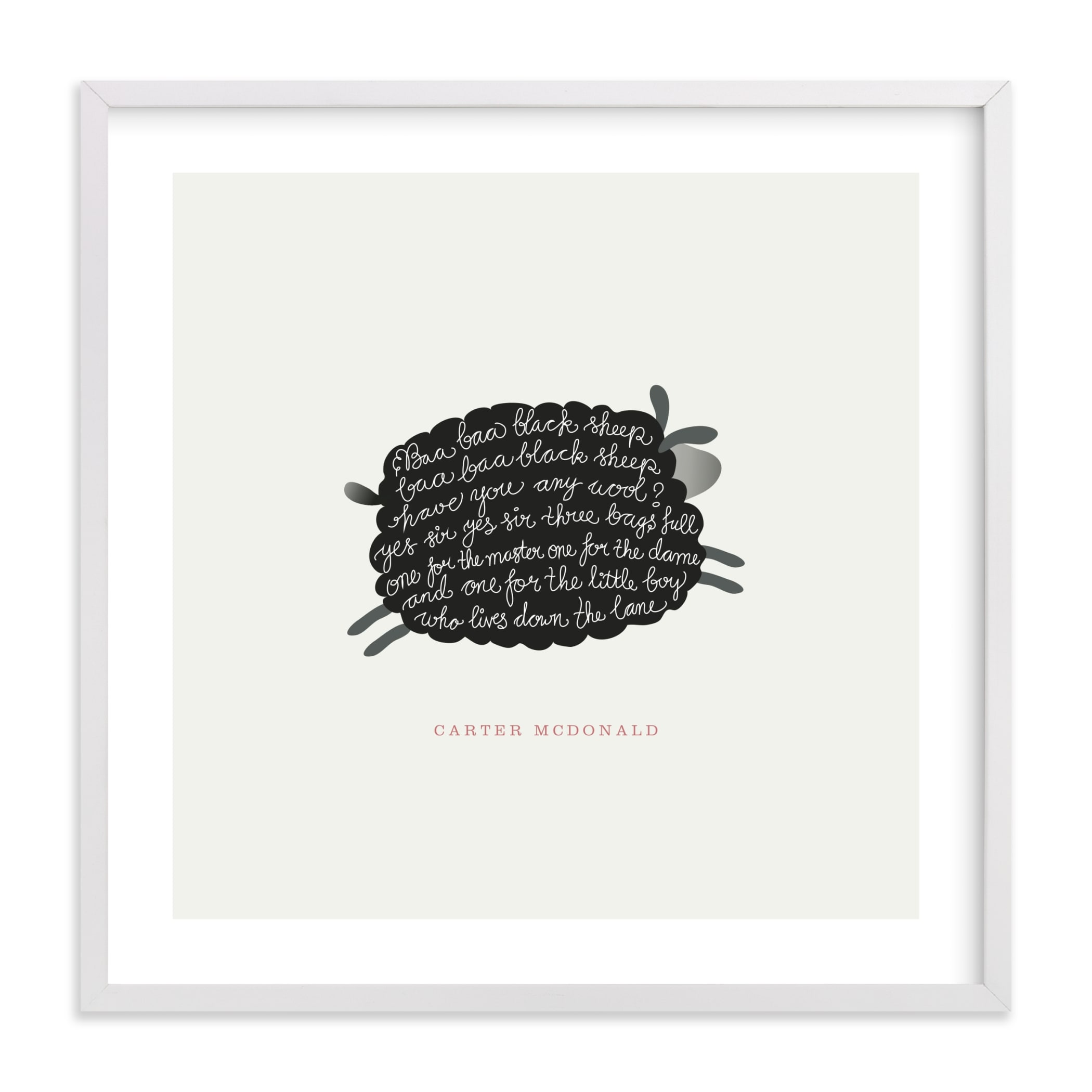 """""""Jumping Black Sheep"""" - Nursery Custom Art Print by chocomocacino in beautiful frame options and a variety of sizes."""