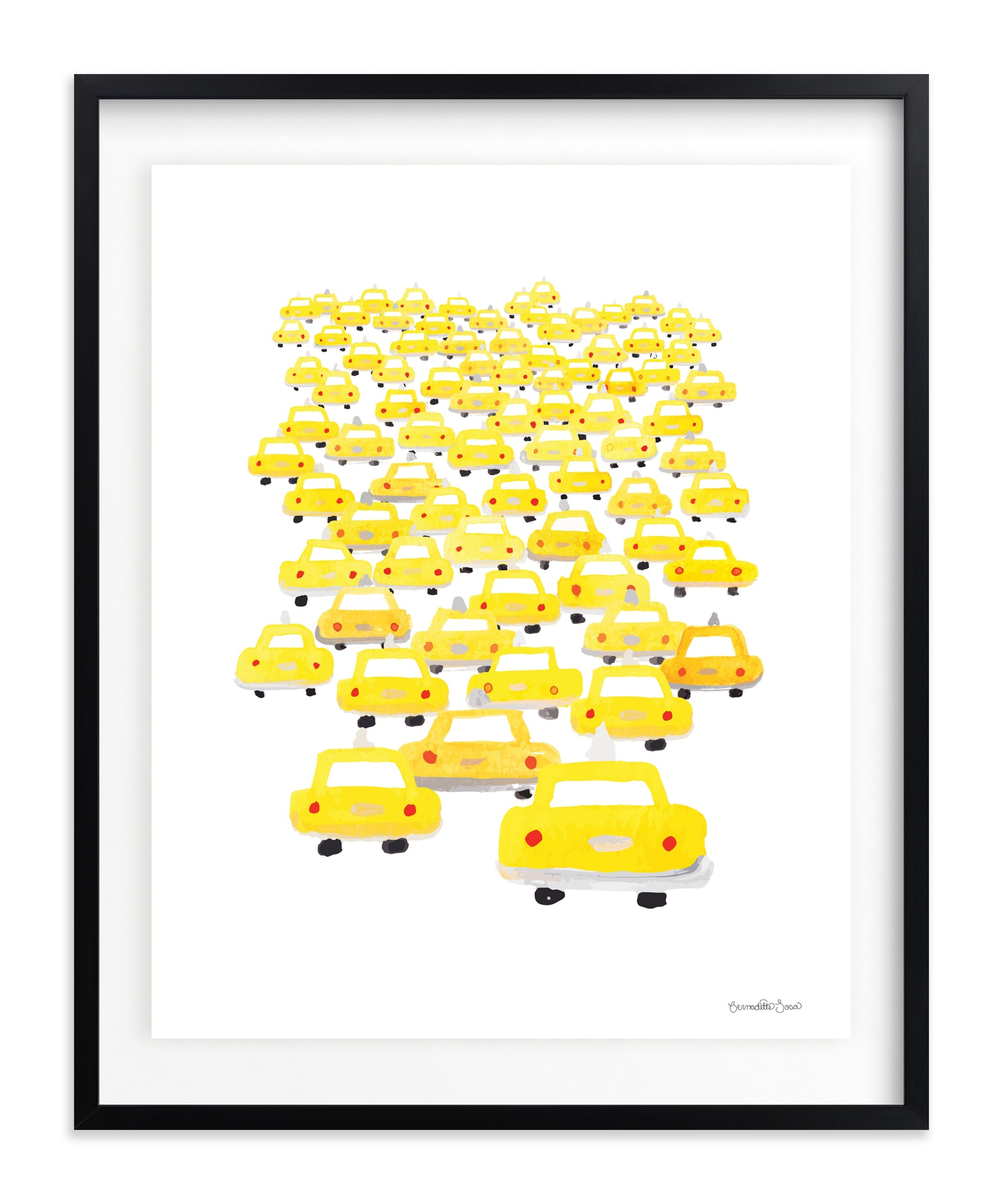 Taxis in Traffic Children's Art Print