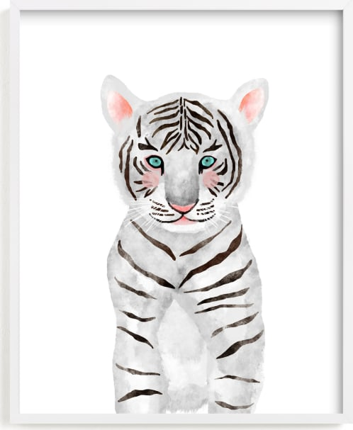 This is a black and white kids wall art by Cass Loh called baby animal.tiger.