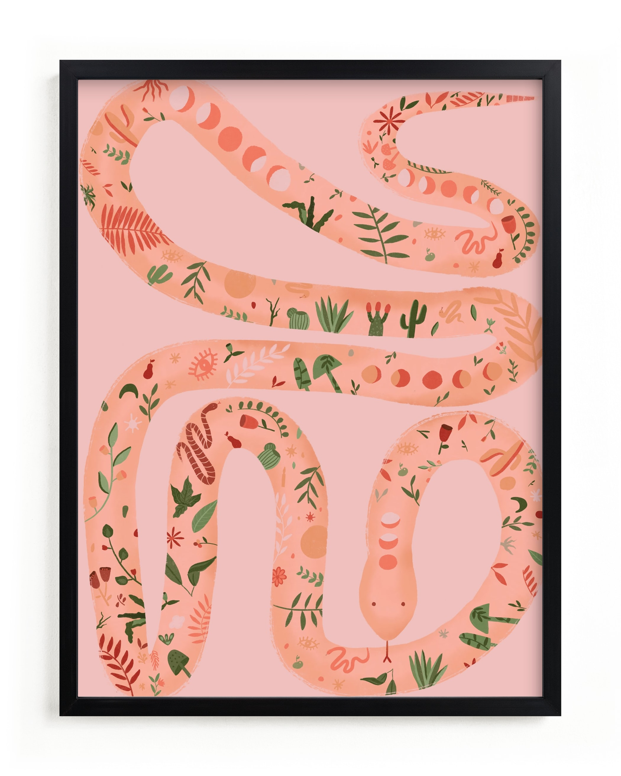 """""""Folk Floral Snake"""" - Limited Edition Art Print by Juliana Moreira-Callahan in beautiful frame options and a variety of sizes."""