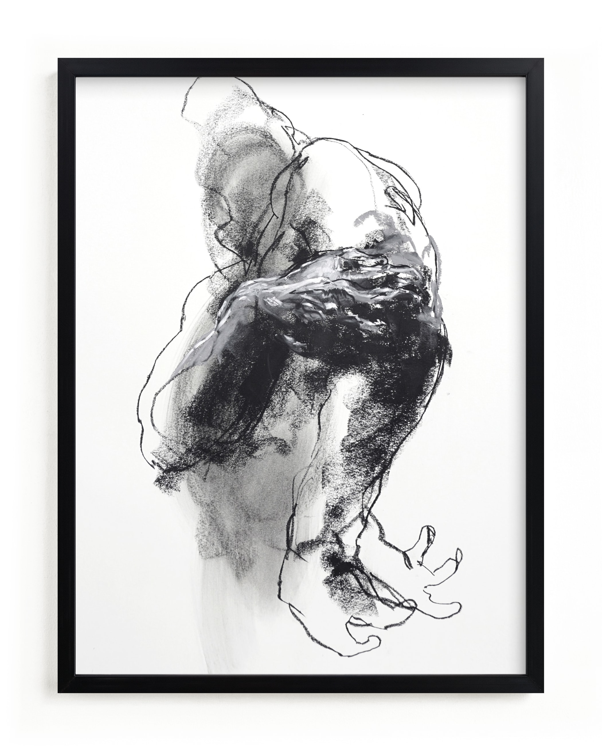 """Drawing 340 - Grasping Man"" - Limited Edition Art Print by Derek overfield in beautiful frame options and a variety of sizes."