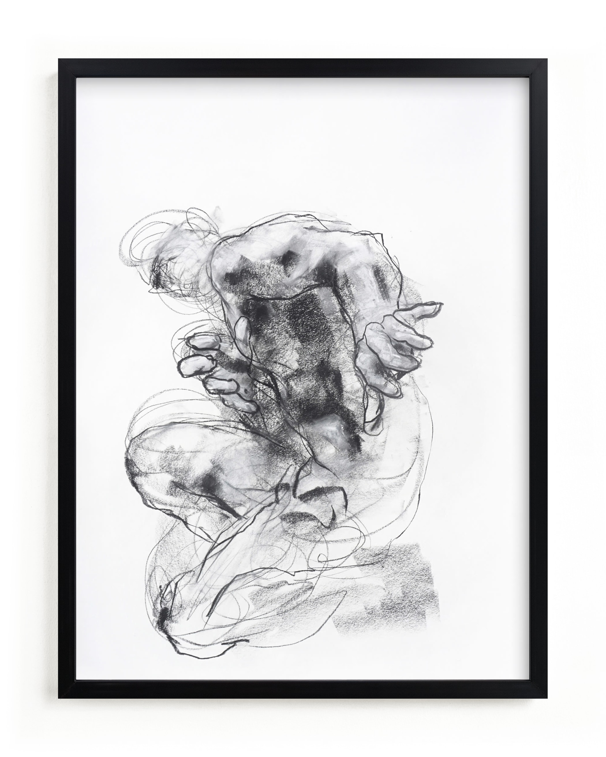 """""""Drawing 538 - Crouching Figure"""" - Limited Edition Art Print by Derek overfield in beautiful frame options and a variety of sizes."""
