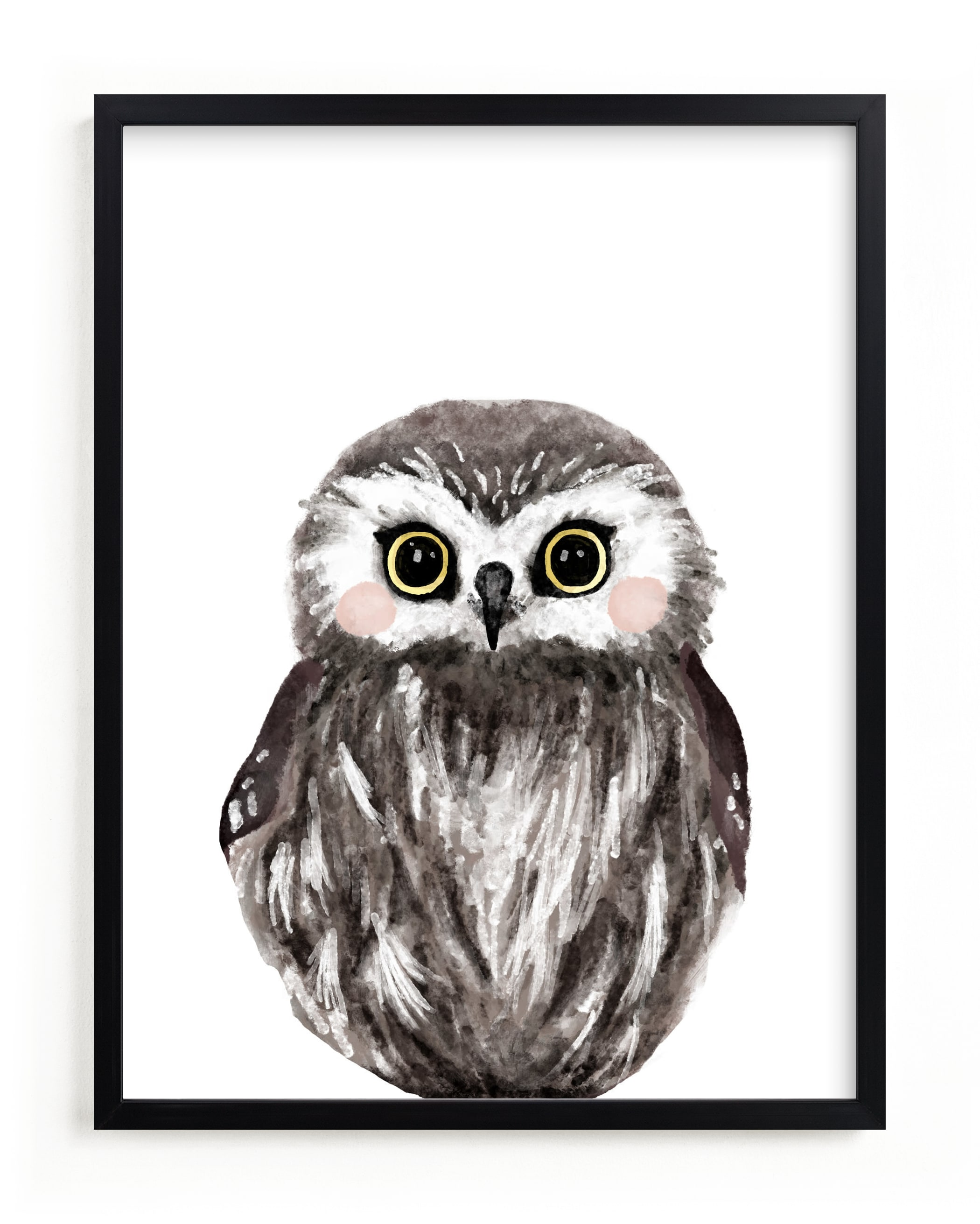 """""""Baby Animal Owl"""" - Limited Edition Art Print by Cass Loh in beautiful frame options and a variety of sizes."""