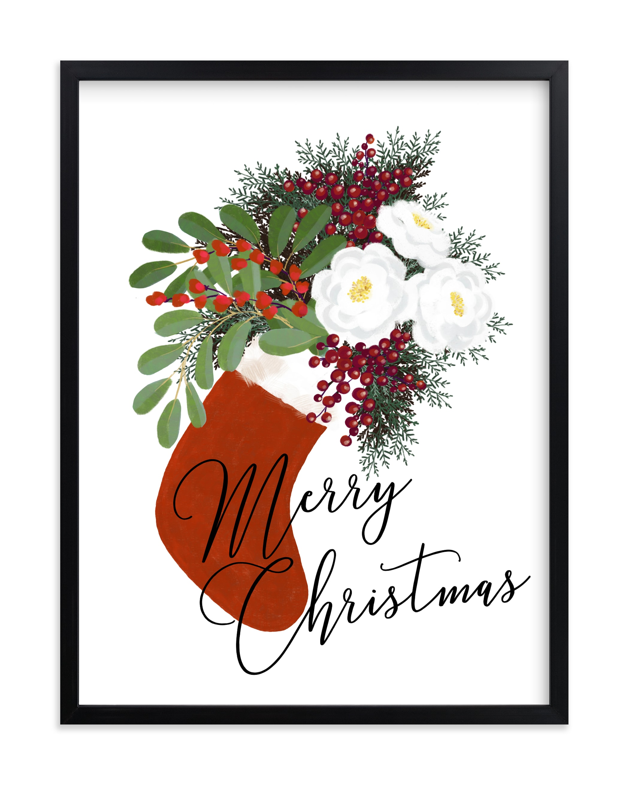 """""""Merry Christmas floral stocking"""" by Rosana Laiz Blursbyai in beautiful frame options and a variety of sizes."""