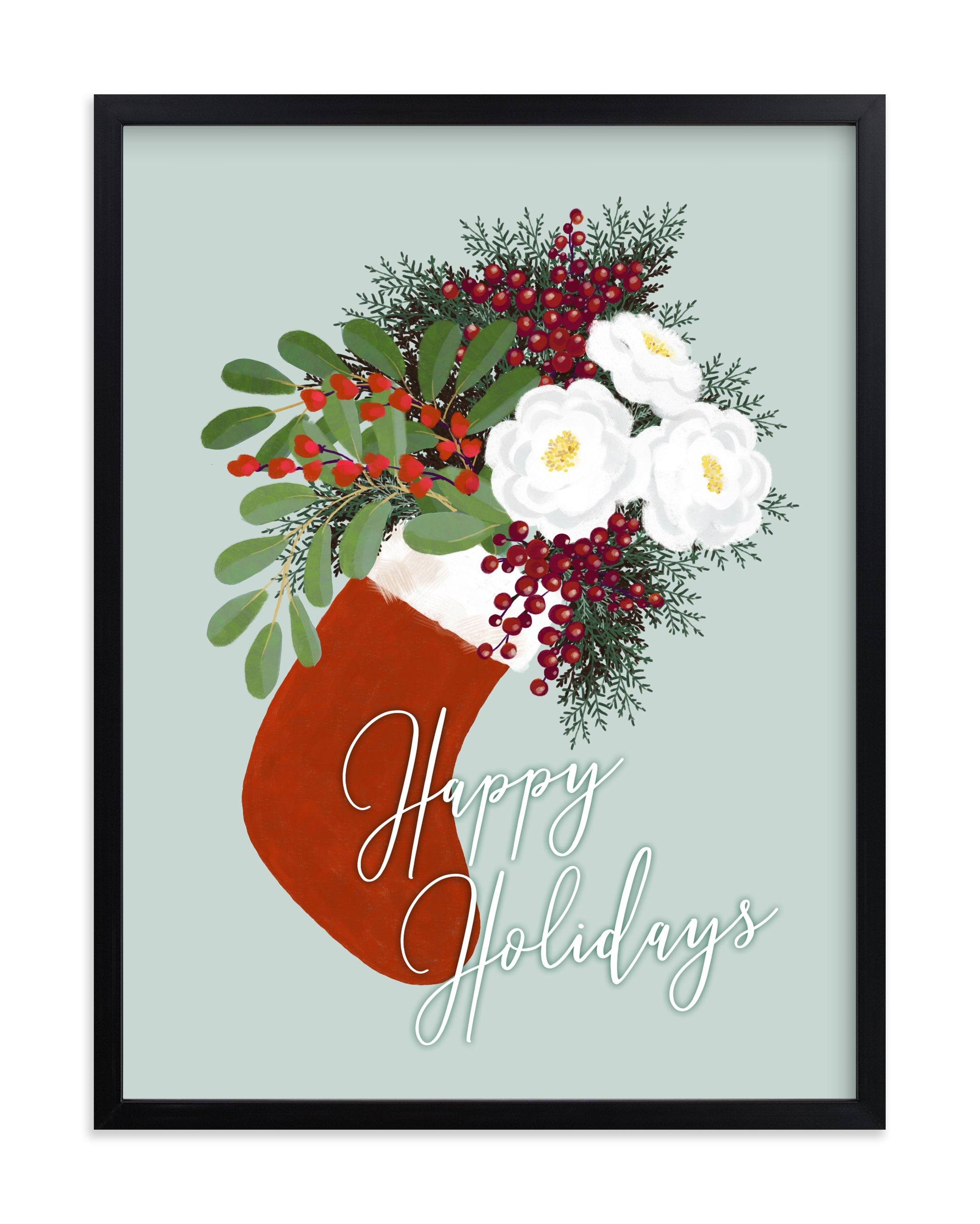 """""""Floral holiday stocking"""" by Rosana Laiz Blursbyai in beautiful frame options and a variety of sizes."""