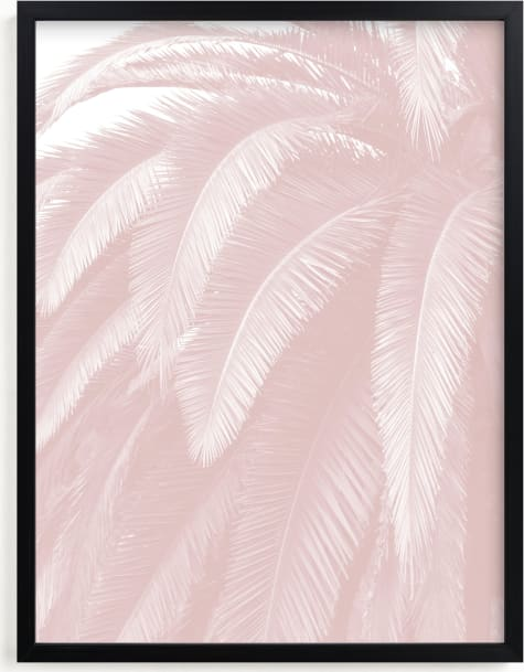 This is a pink kids wall art by Owl and Toad called Soft Palm Top.