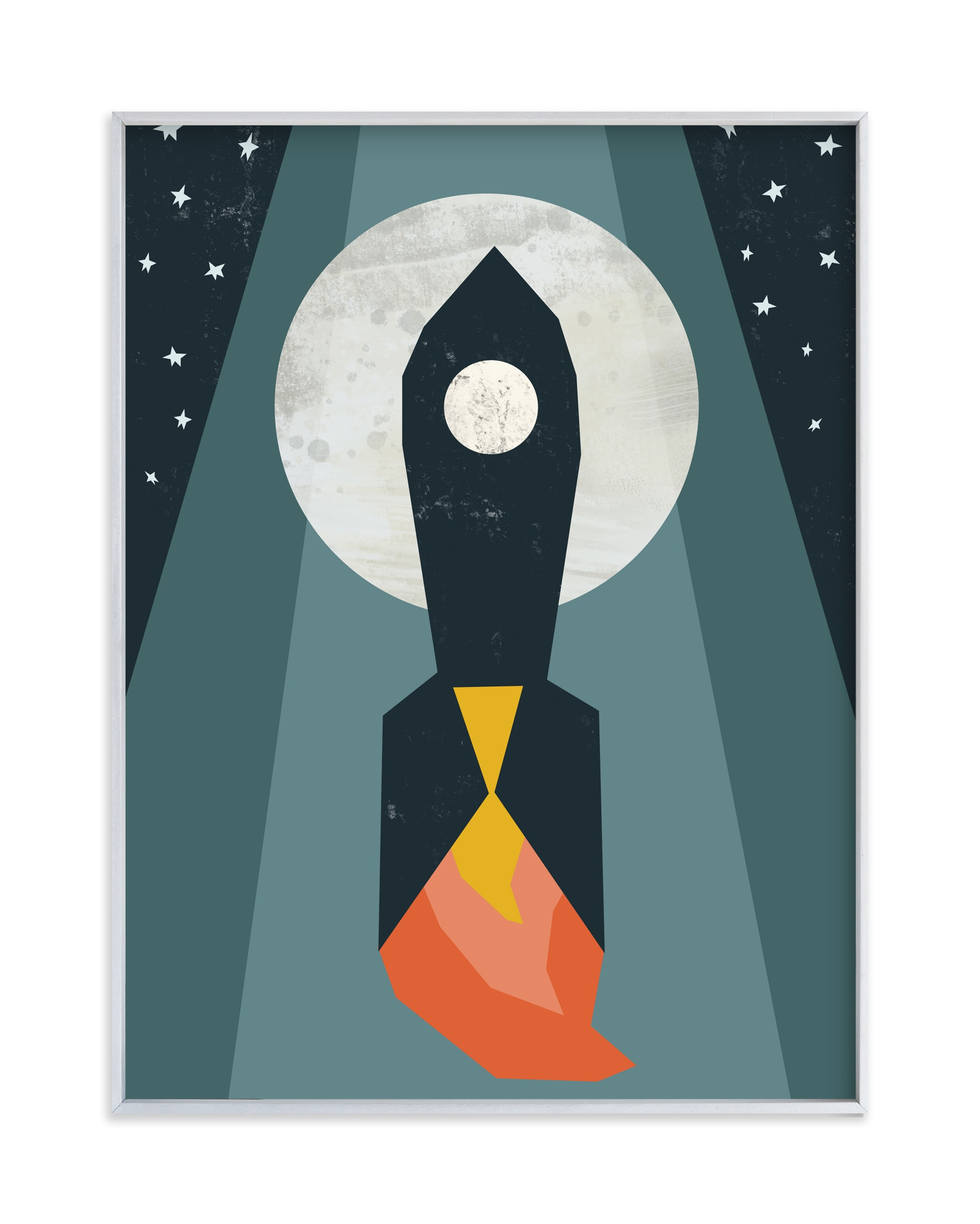 """""""Rocket to the Moon"""" - Limited Edition Art Print by Morgan Kendall in beautiful frame options and a variety of sizes."""