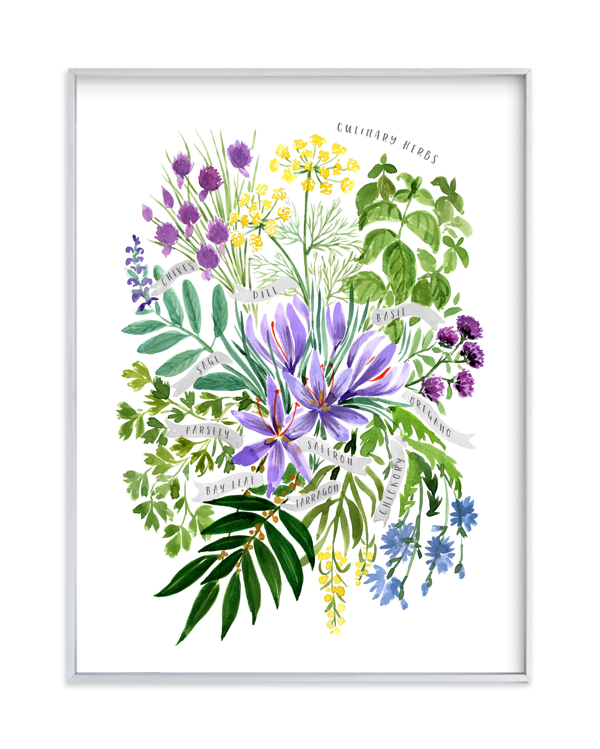 """""""Culinary herbs bouquet"""" by Rosana Laiz Blursbyai in beautiful frame options and a variety of sizes."""