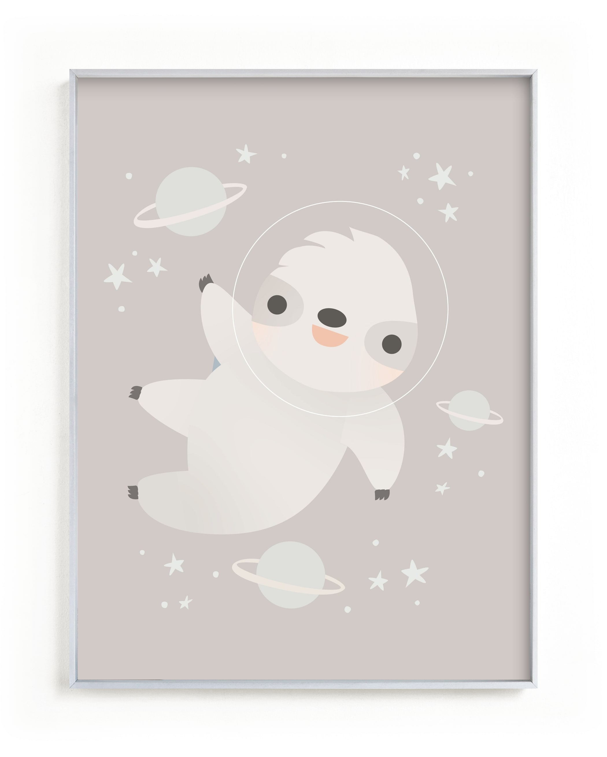 Sloth in Space Nursery Art Print