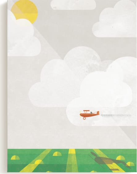 This is a orange kids wall art by Robert and Stella called Sky Adventure.