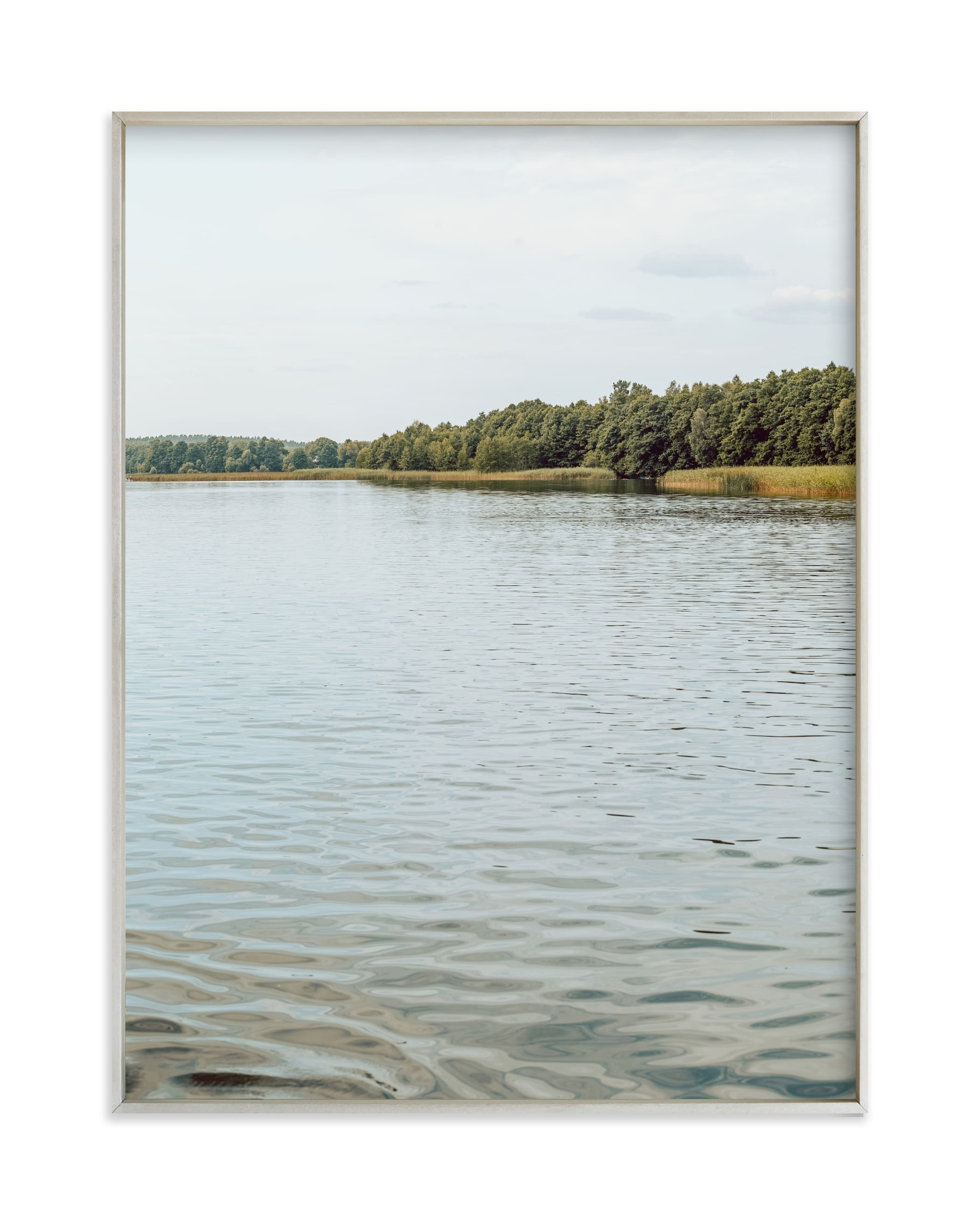 """Calm lake II"" by Lying on the grass in beautiful frame options and a variety of sizes."
