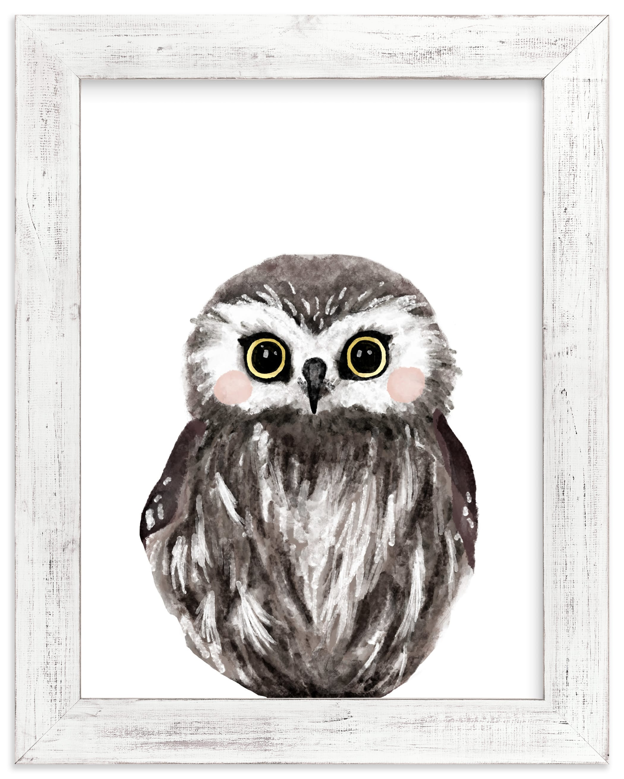 """Baby Animal Owl"" - Limited Edition Art Print by Cass Loh in beautiful frame options and a variety of sizes."