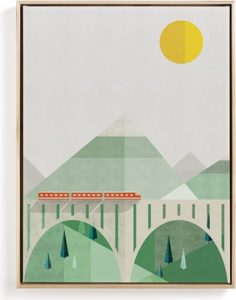 This is a orange kids wall art by Robert and Stella called Train Voyage.
