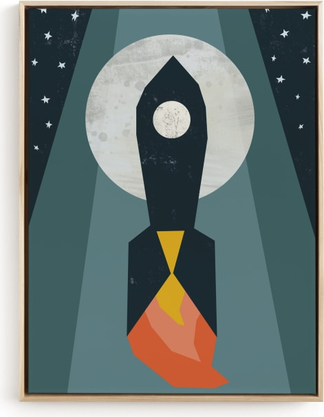 This is a blue kids wall art by Morgan Kendall called Rocket to the Moon.