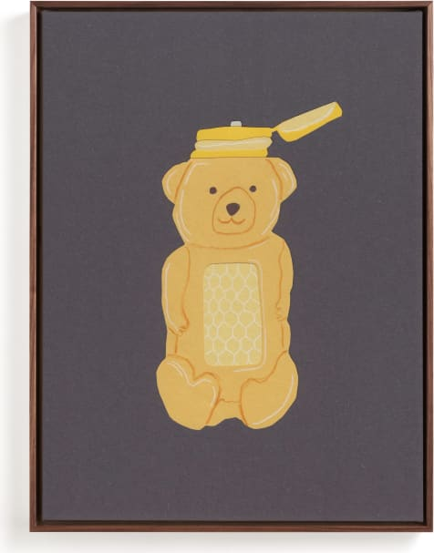 This is a yellow kids wall art by Elliot Stokes called Honey Bear.