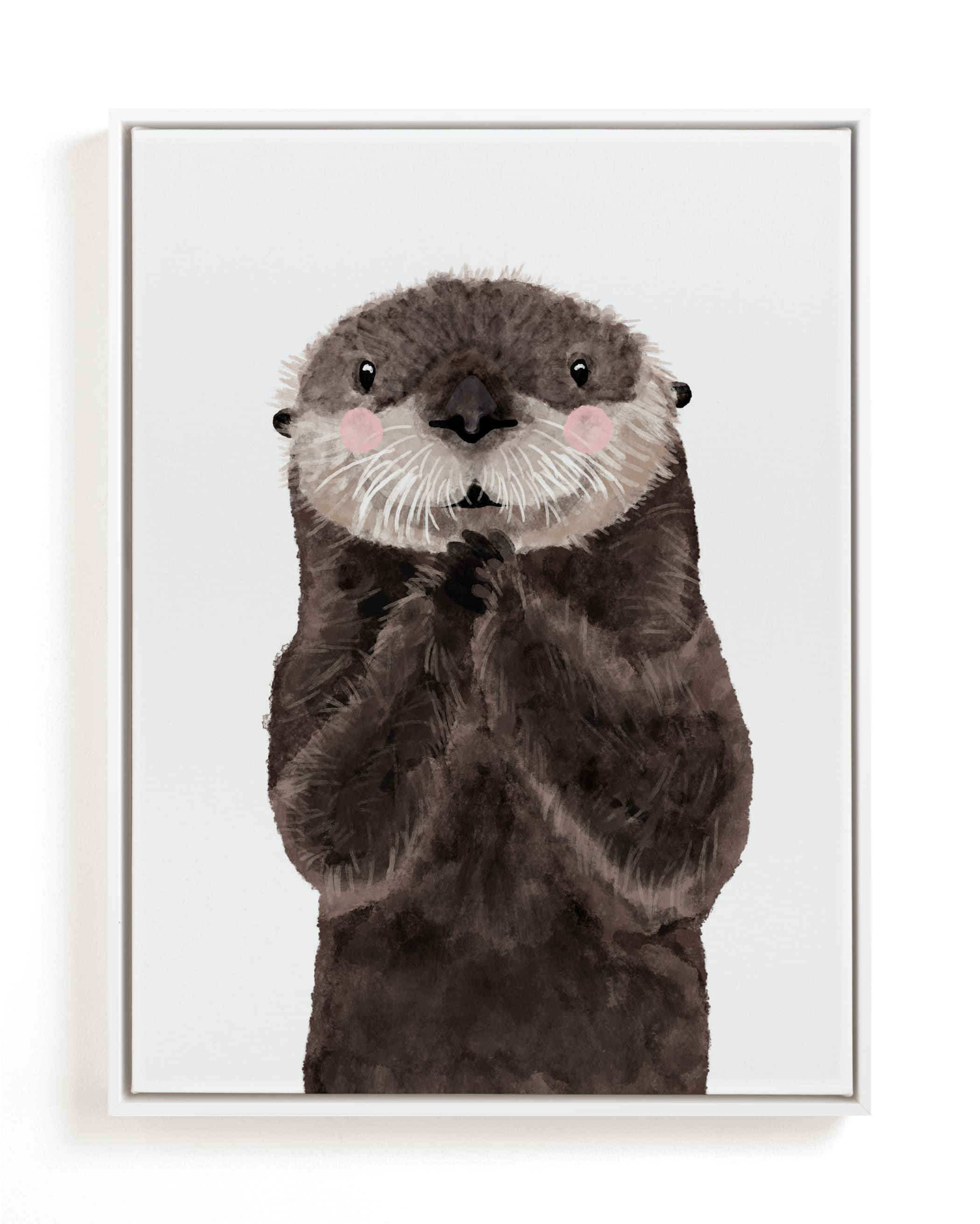 """Baby Animal Sea Otter"" - Limited Edition Art Print by Cass Loh in beautiful frame options and a variety of sizes."