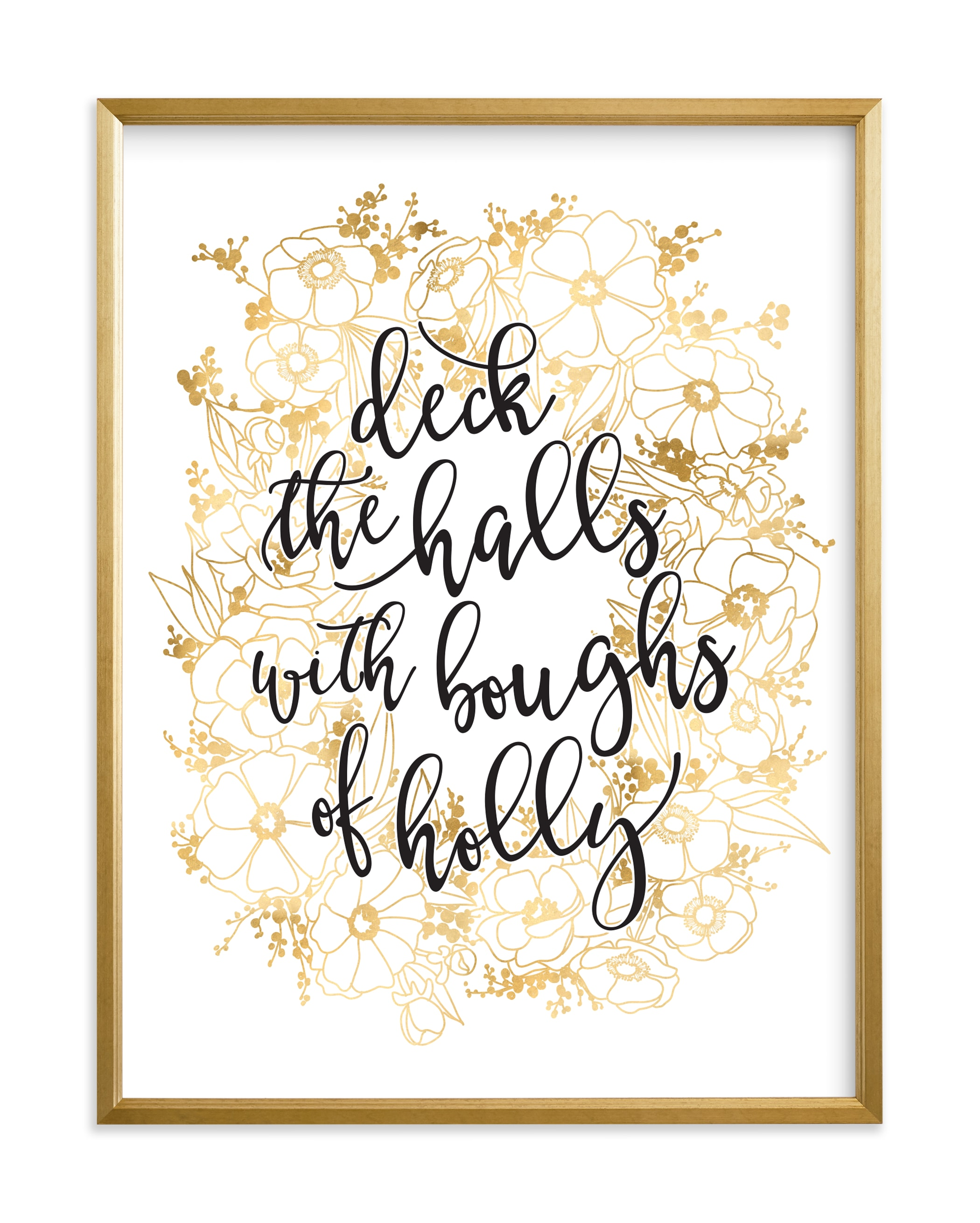 """""""Floral lyrics deck the halls"""" by Rosana Laiz Blursbyai in beautiful frame options and a variety of sizes."""