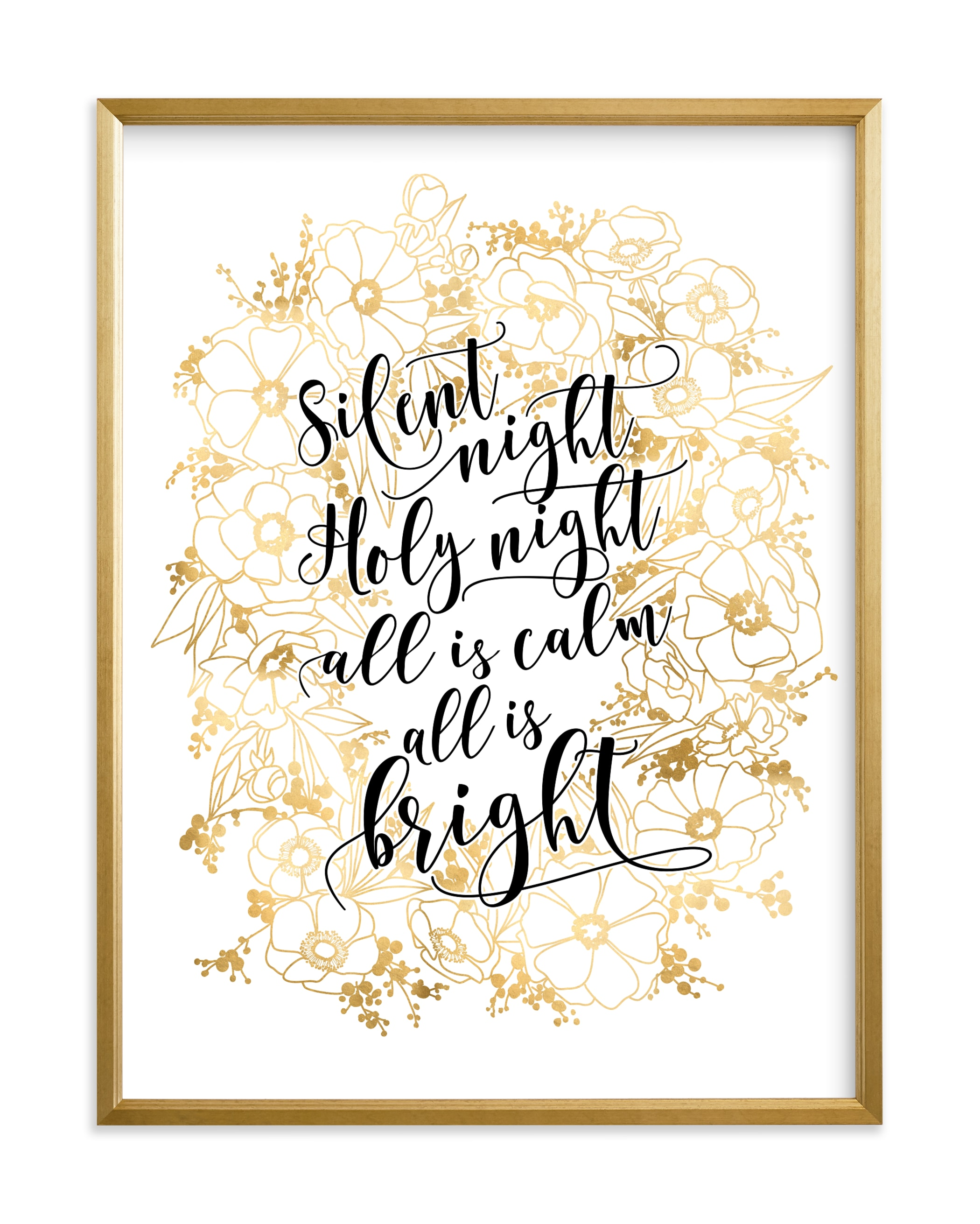 """""""Floral lyrics silent night"""" by Rosana Laiz Blursbyai in beautiful frame options and a variety of sizes."""