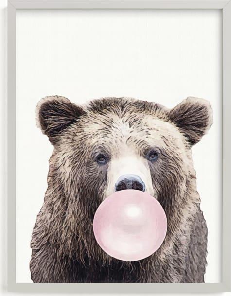 This is a brown kids wall art by Maja Cunningham called Bubblegum: Bear.