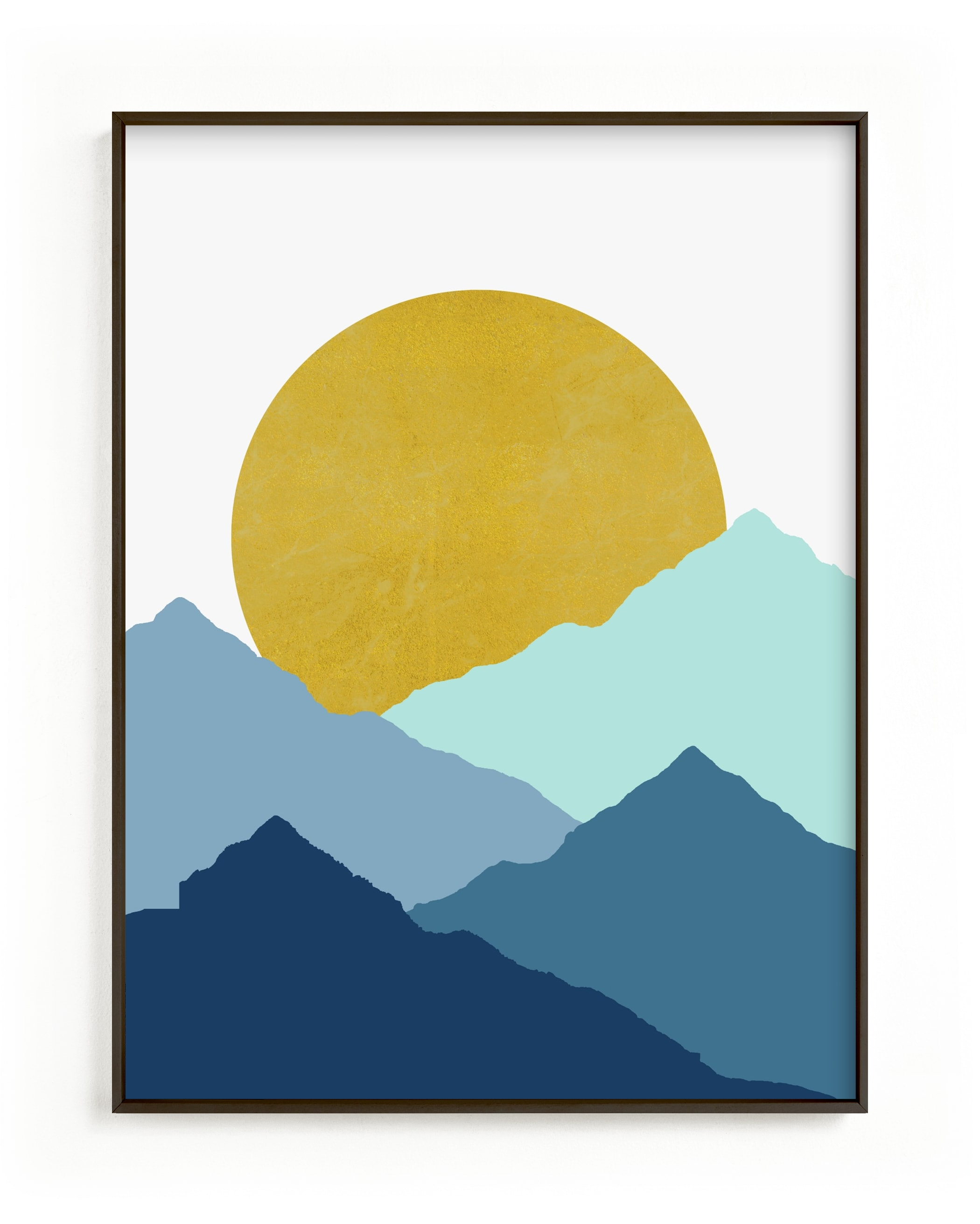 This is a blue kids wall art by Sudevi Sen called Mountain Love.