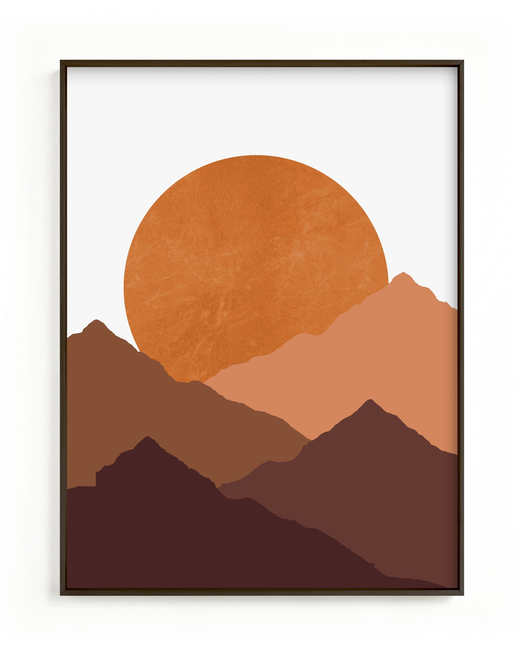 This is a brown kids wall art by Sudevi Sen called Mountain Love.