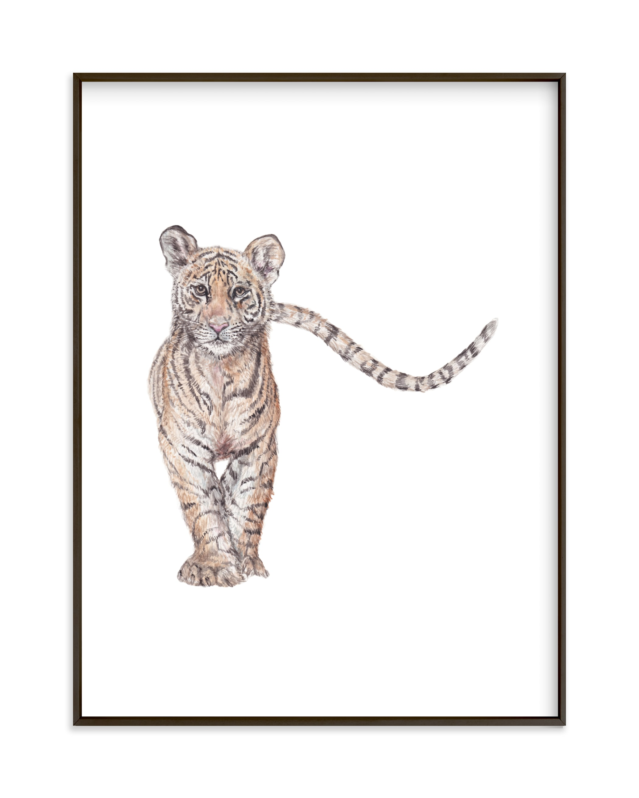 """Approaching Watercolor Tiger"" by Lauren Rogoff in beautiful frame options and a variety of sizes."