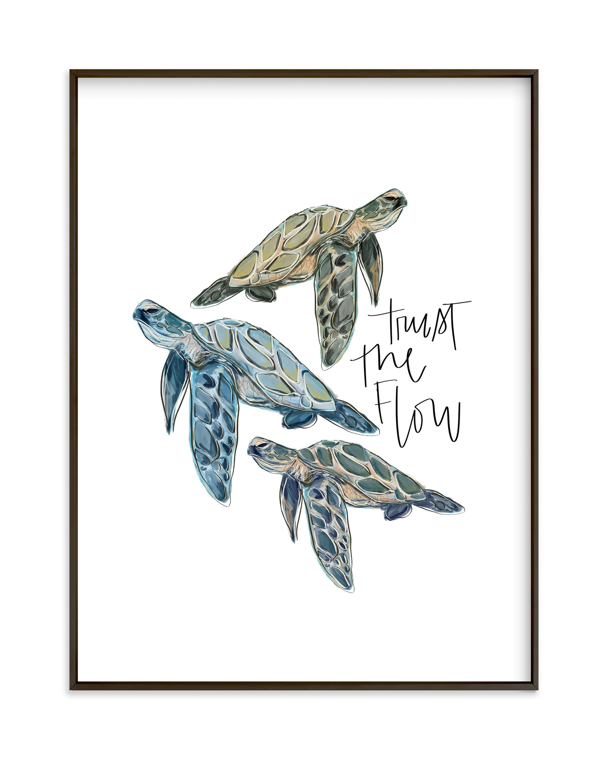 """""""Turtle Wisdom """" by Britt Mills in beautiful frame options and a variety of sizes."""