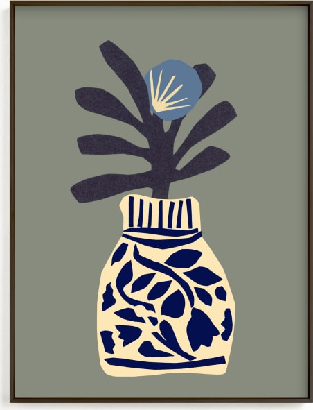 This is a blue art by Sonya Percival called Single flower in a porcelain vase.