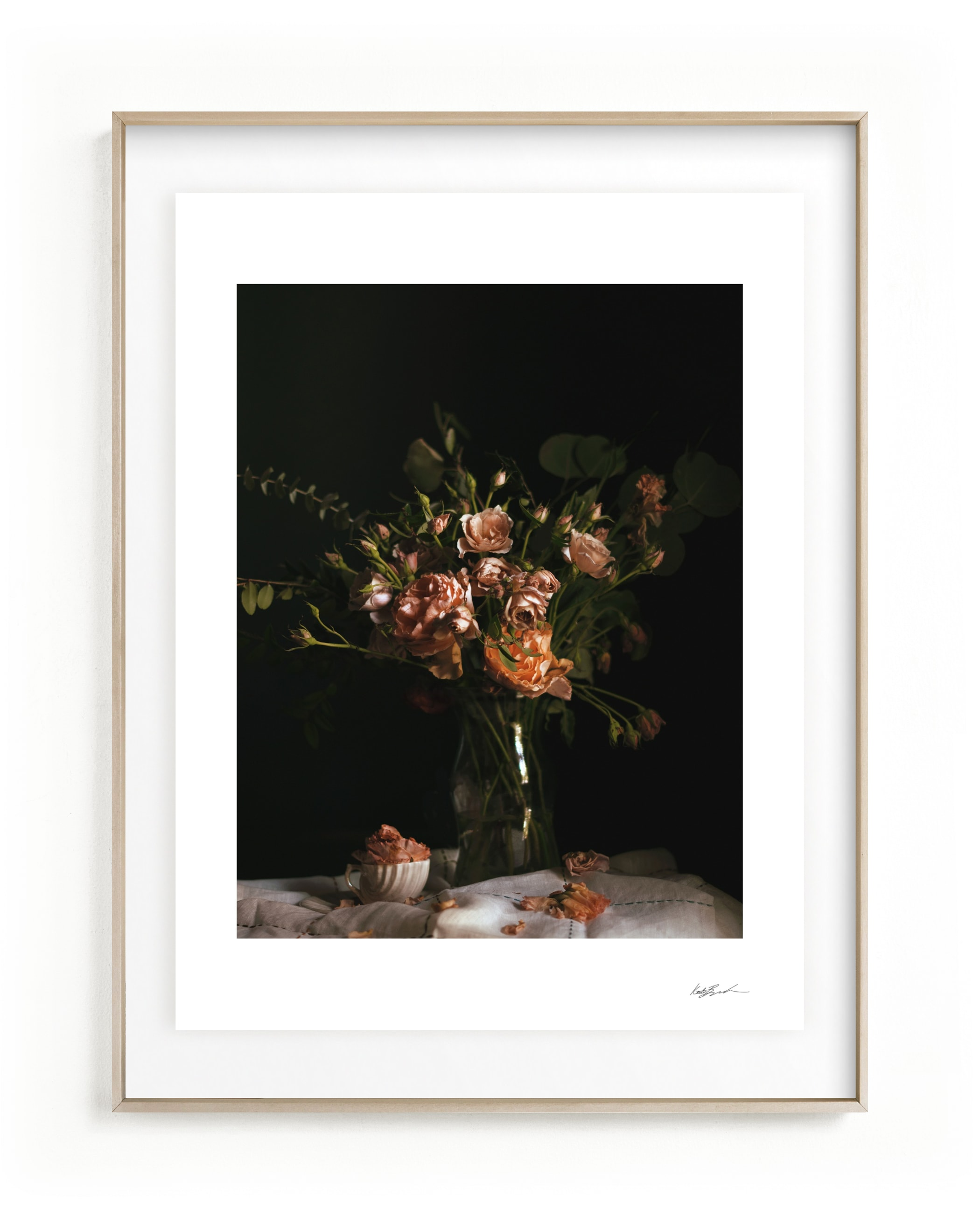 Moody Floral Still Life Wall Art Print