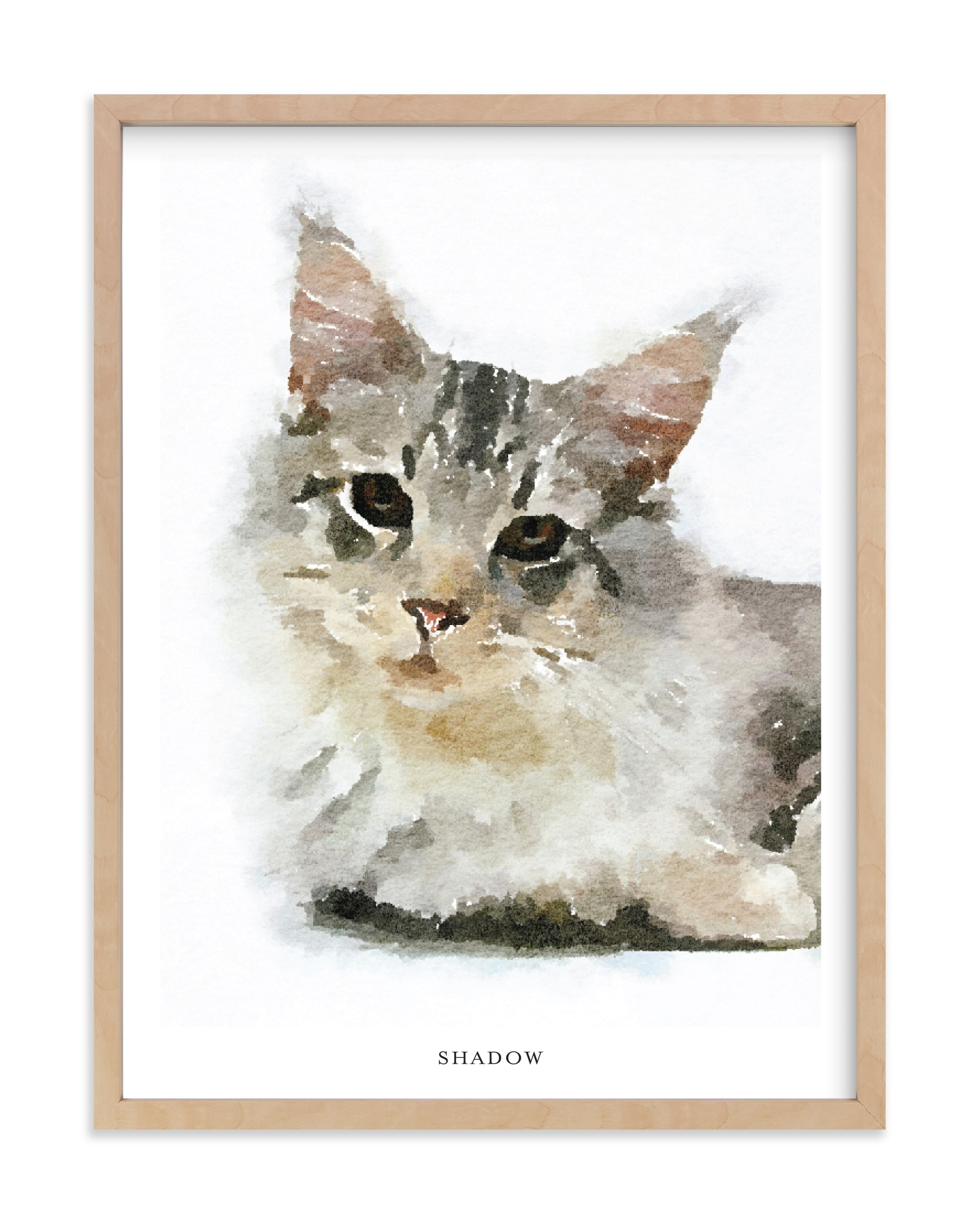 Custom Pet Portrait with Text Your Drawing As Art Print