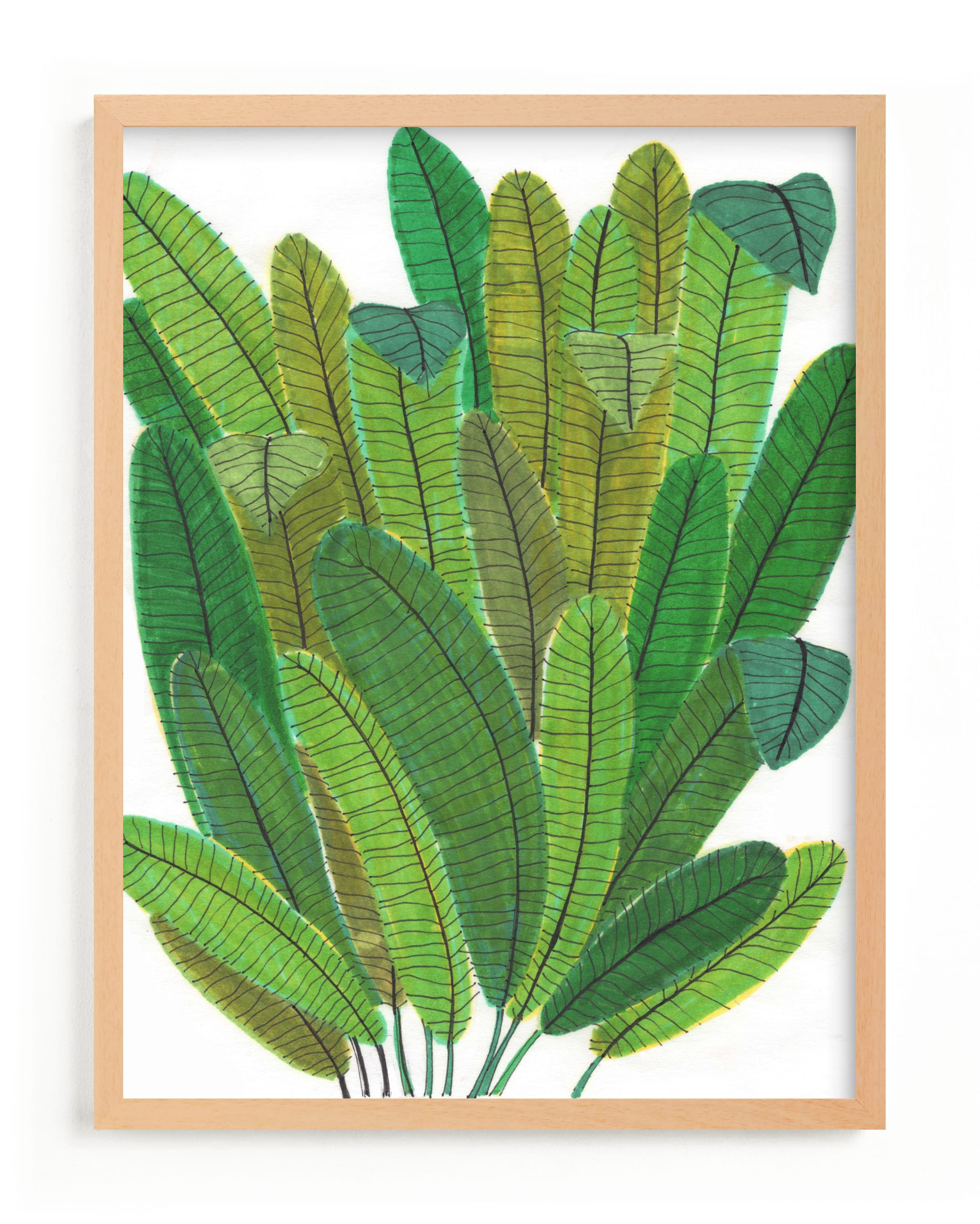 """Banana Leaf Bouquet"" - Limited Edition Art Print by Madeline Trait in beautiful frame options and a variety of sizes."