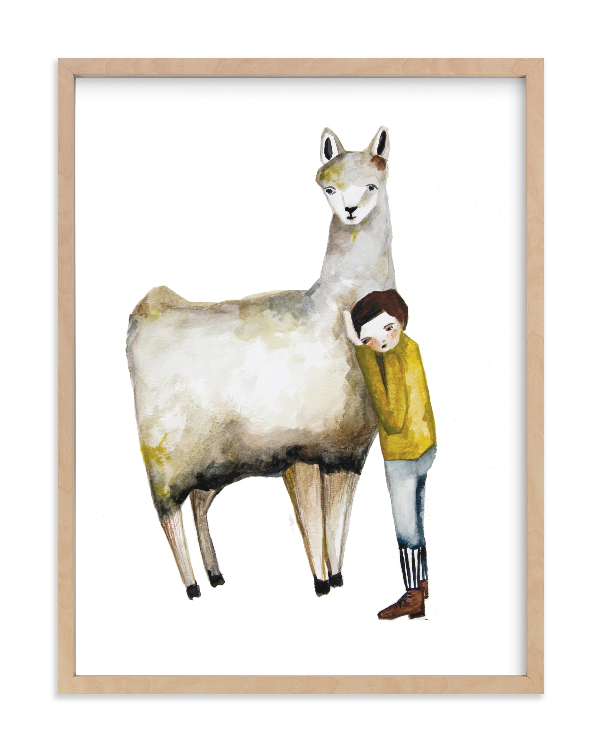 """LLama and Boy"" - Limited Edition Art Print by Sarah Fitzgerald in beautiful frame options and a variety of sizes."