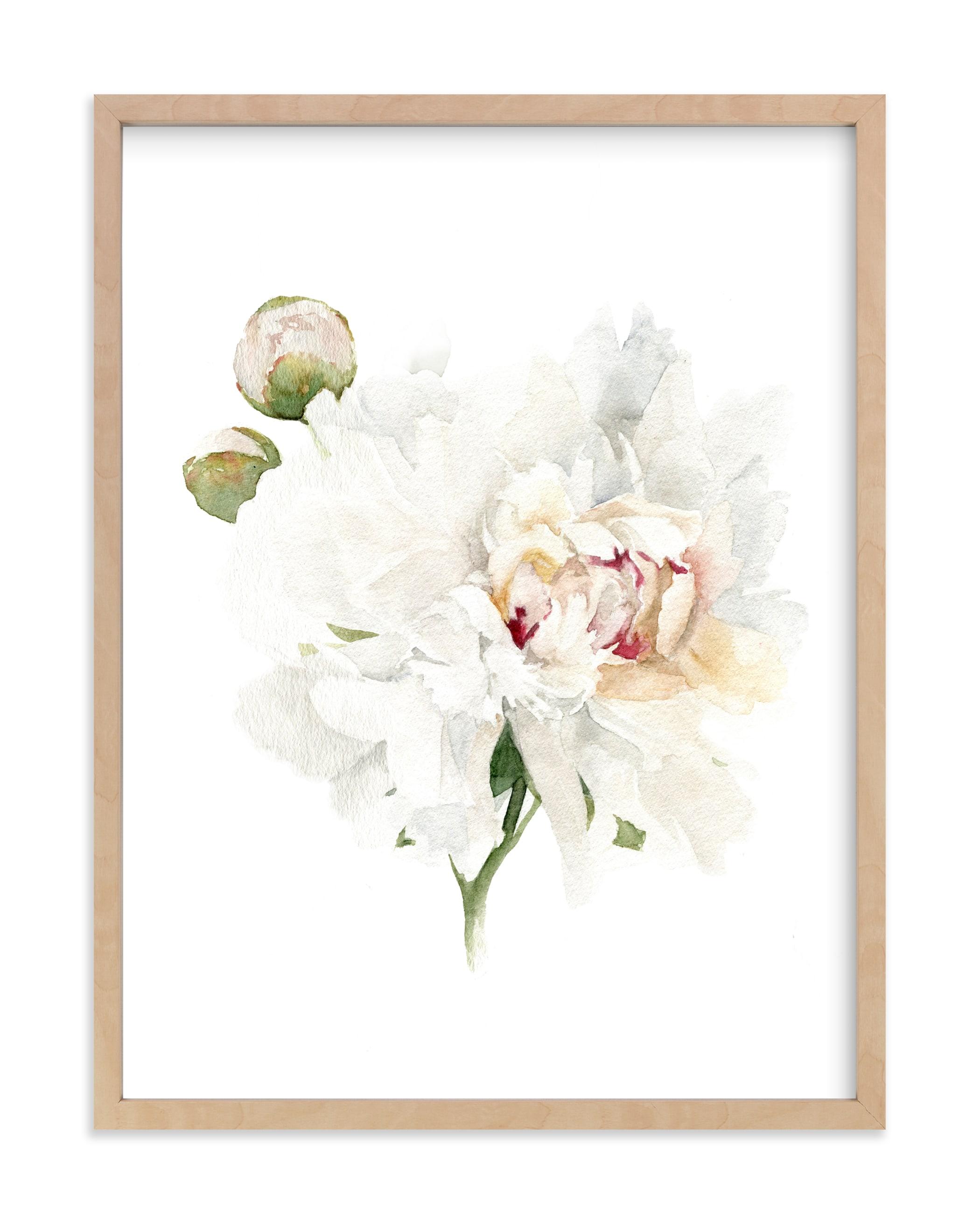 """White Peony Stem"" by Jess Blazejewski in beautiful frame options and a variety of sizes."