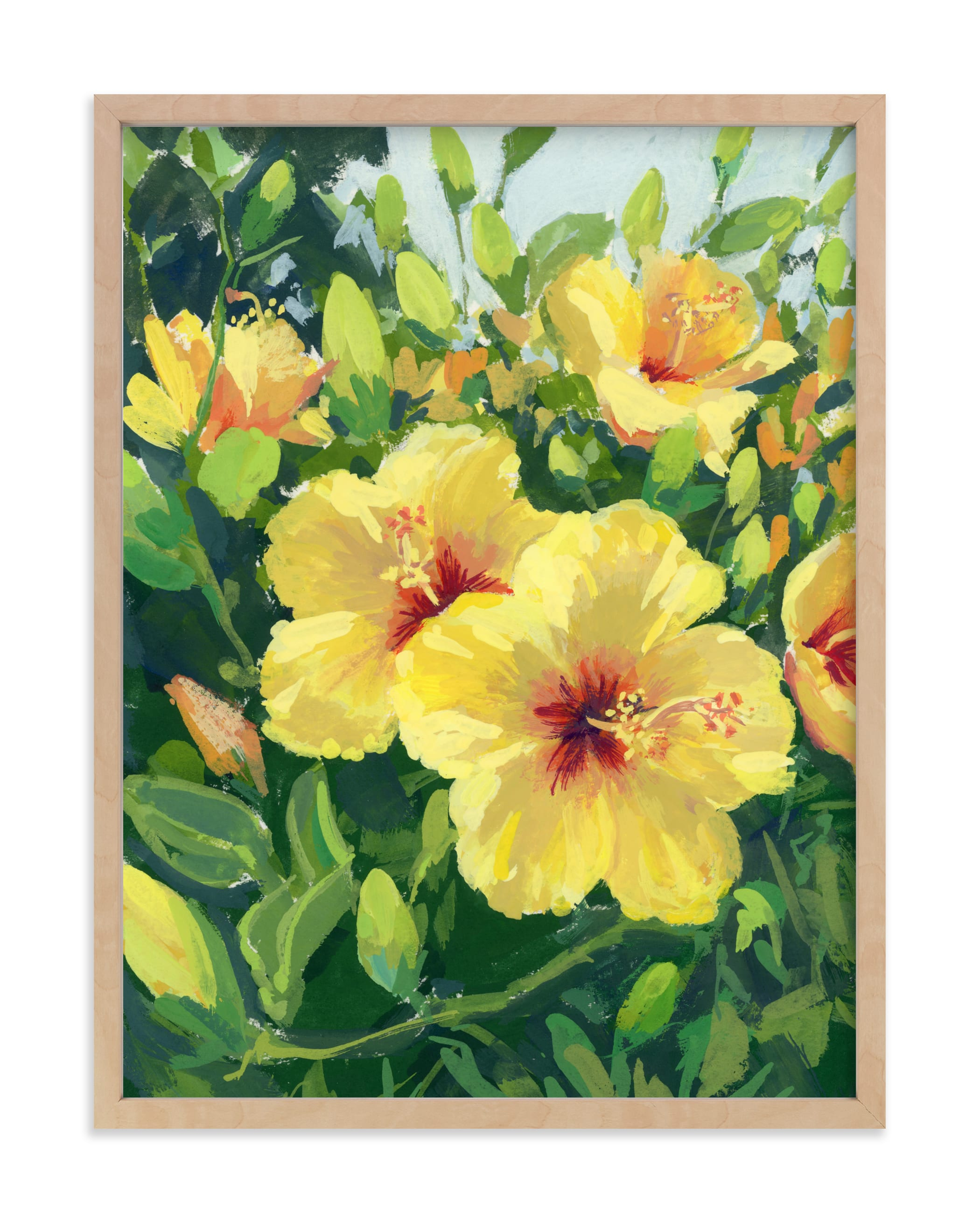 """""""Golden Hibiscus"""" by sue prue in beautiful frame options and a variety of sizes."""
