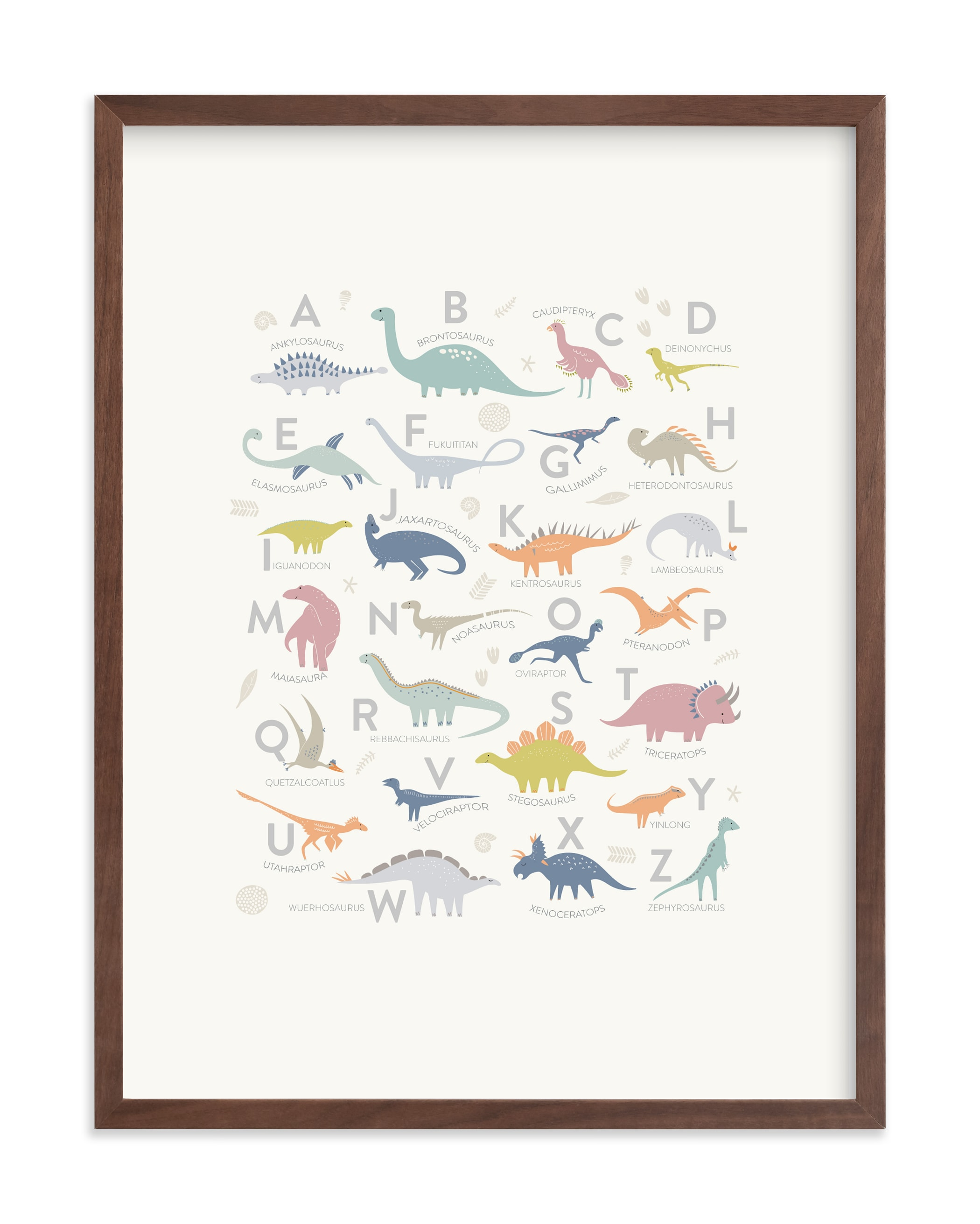 """""""Alphabet Dinos"""" by Teju Reval in beautiful frame options and a variety of sizes."""