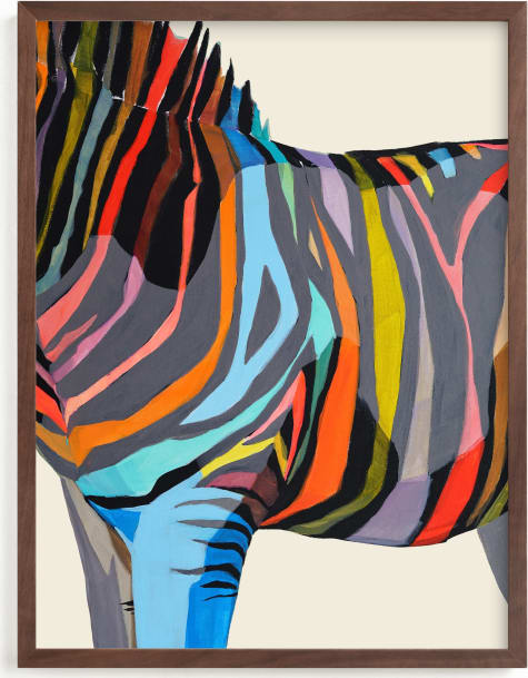 This is a colorful kids wall art by Jess Franks called Safari Stripes.