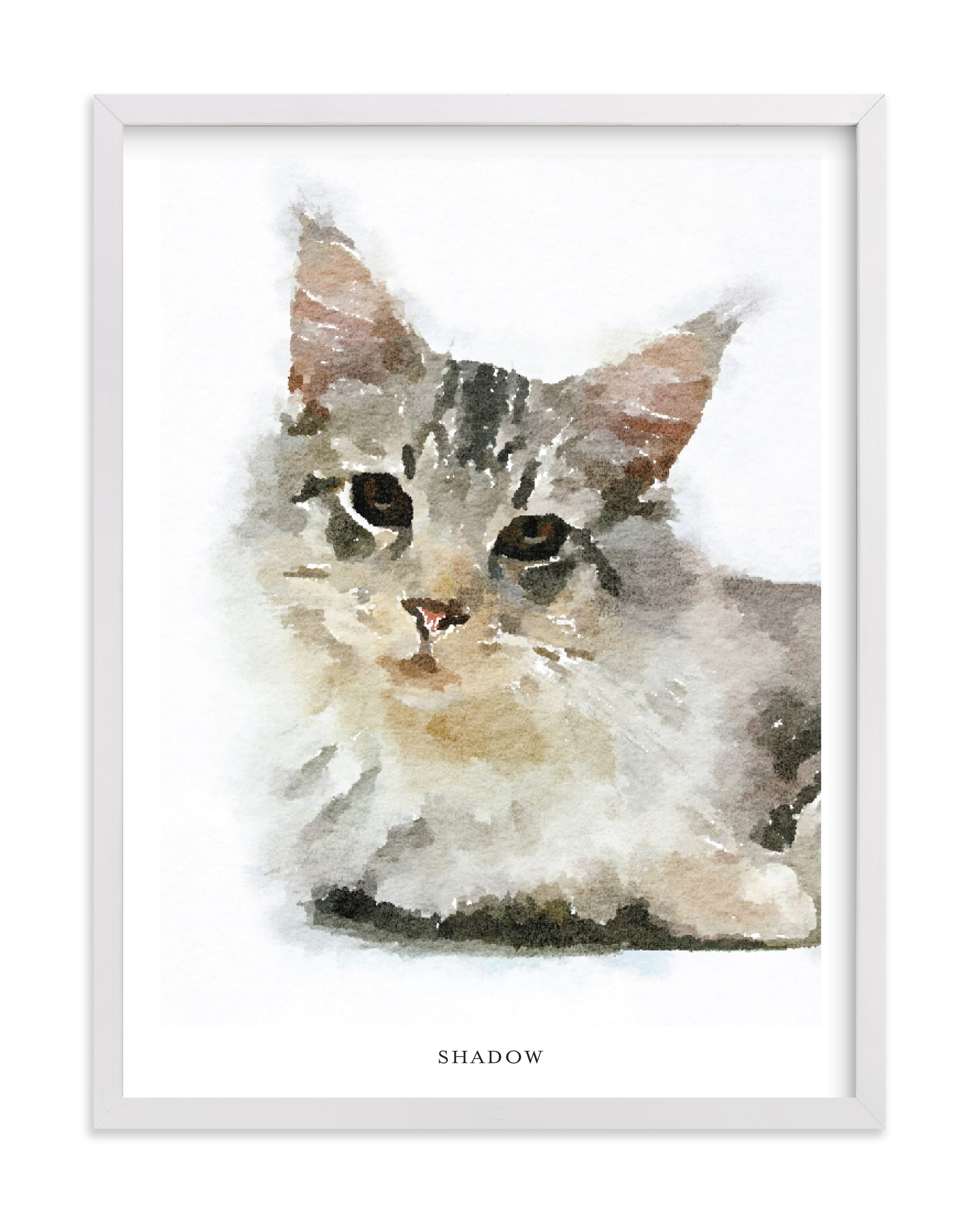 """""""Custom Pet Portrait with Text"""" - Drawn Digital Art by Minted in beautiful frame options and a variety of sizes."""