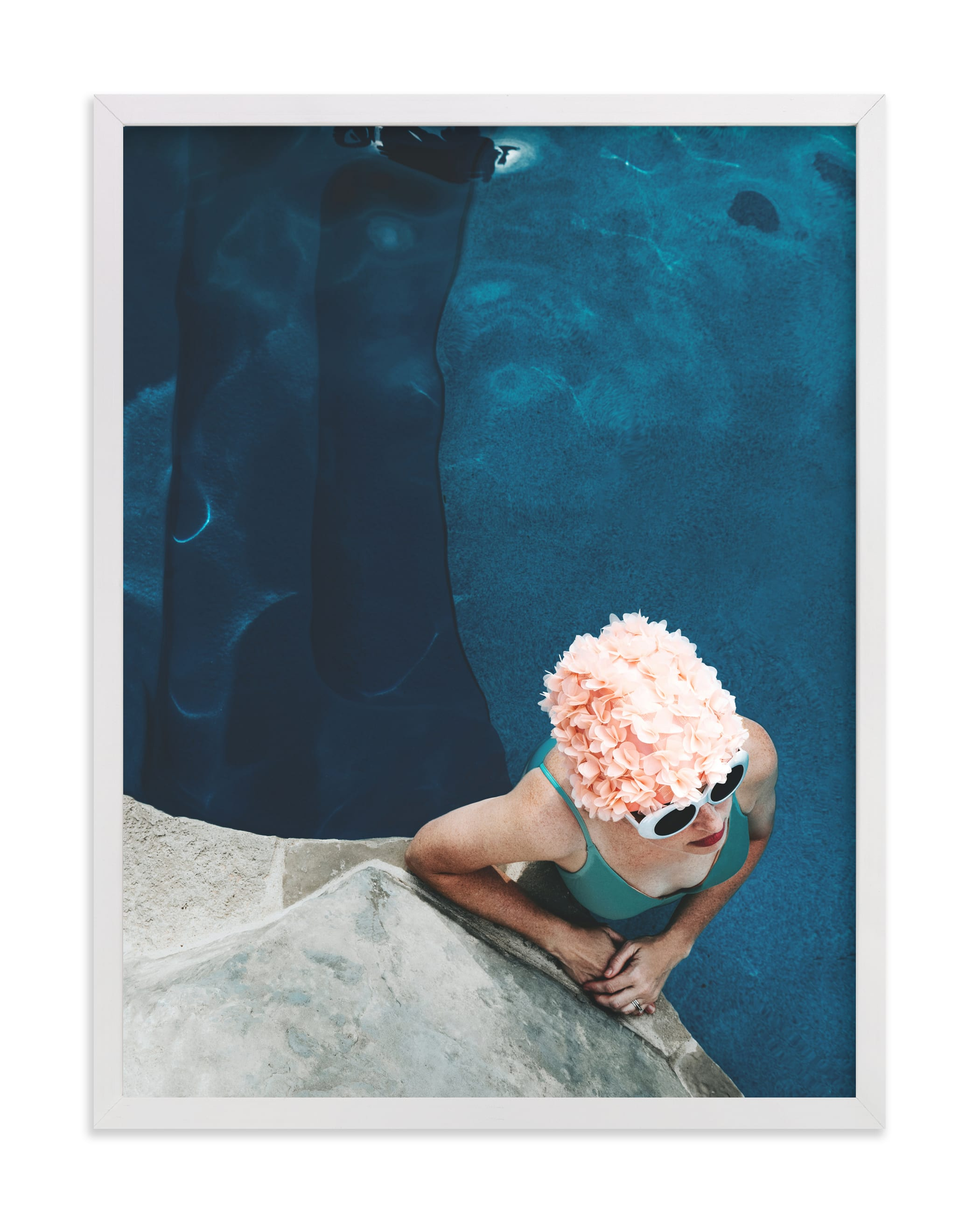 lady in a swim cap Wall Art Print