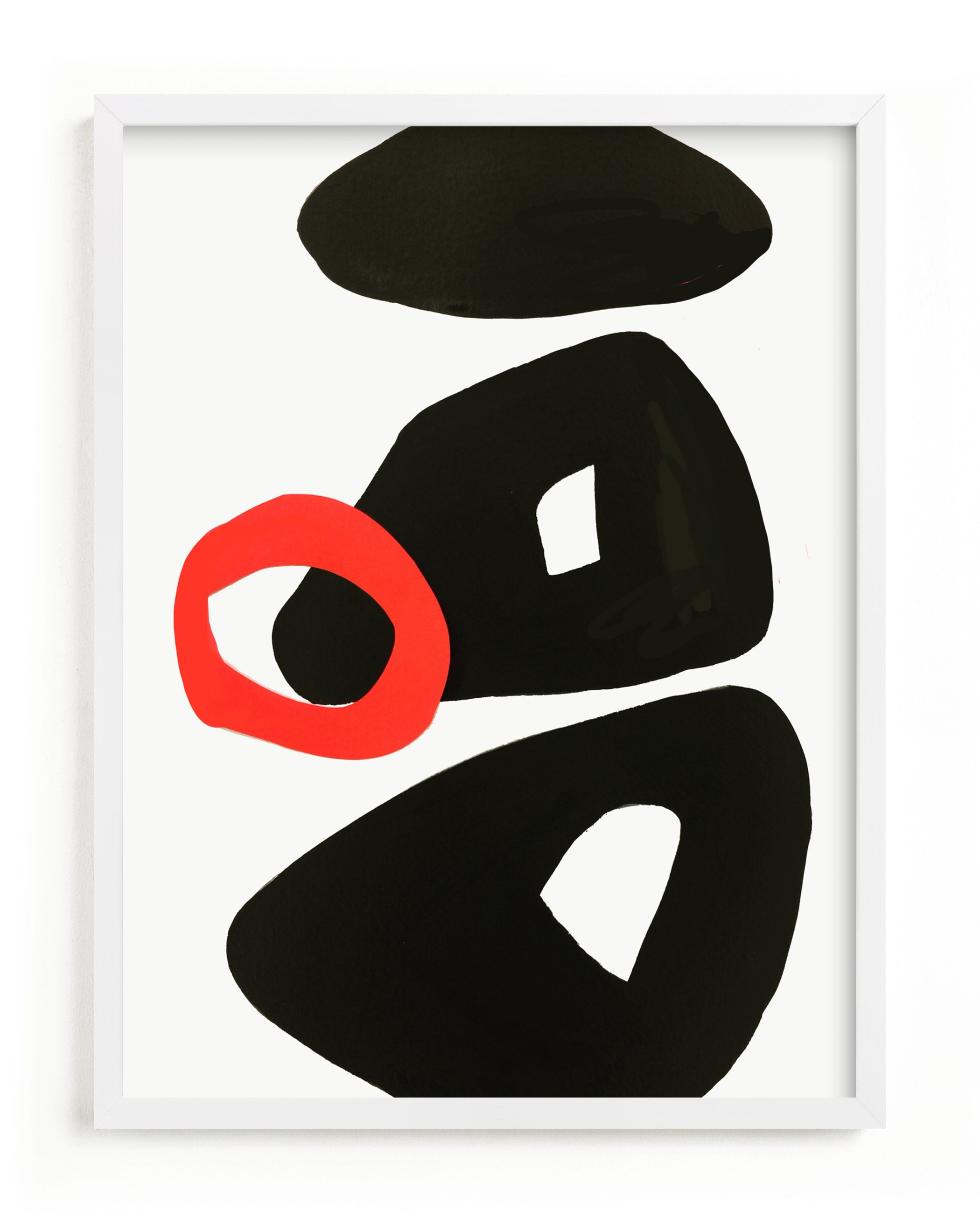 This is a black and white art by Deborah Velasquez called Red Circle.