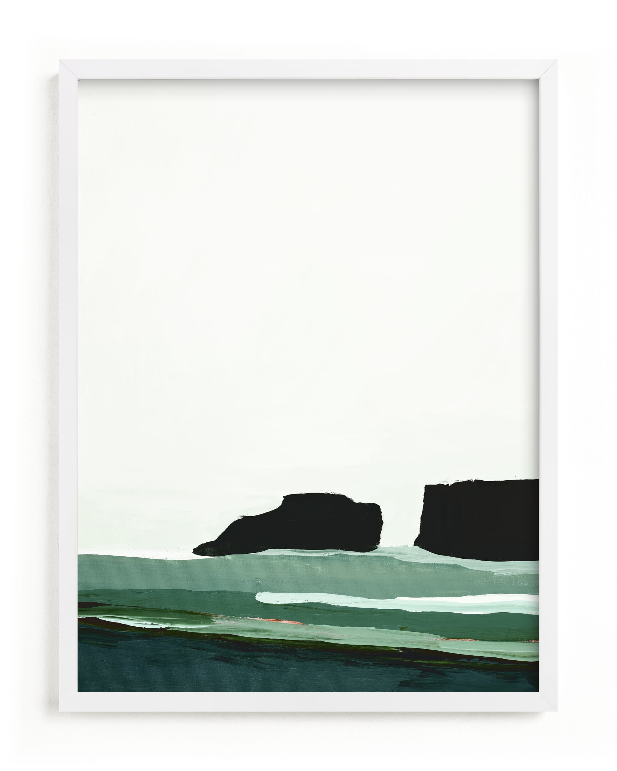 This is a white art by Caryn Owen called Abstract Pacific Seascape Diptych 1.
