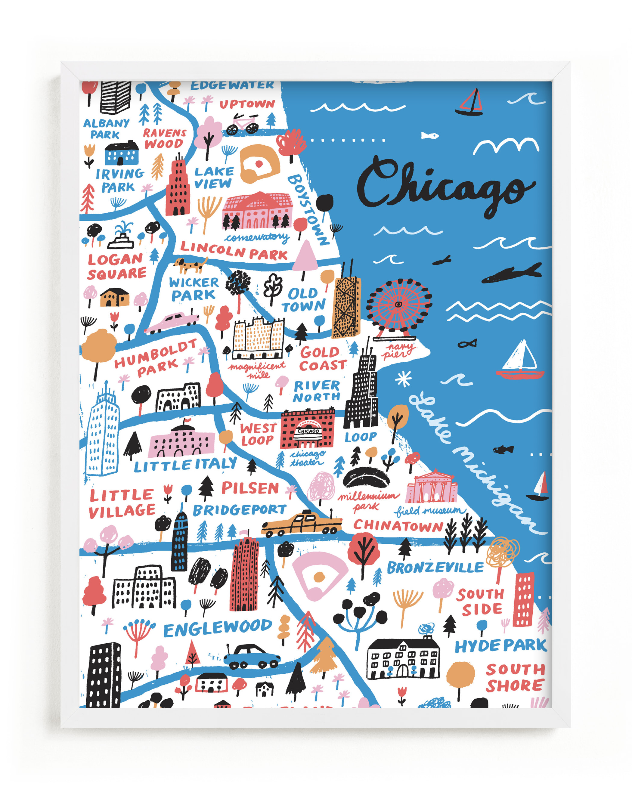 """I Love Chicago"" - Limited Edition Art Print by Jordan Sondler in beautiful frame options and a variety of sizes."