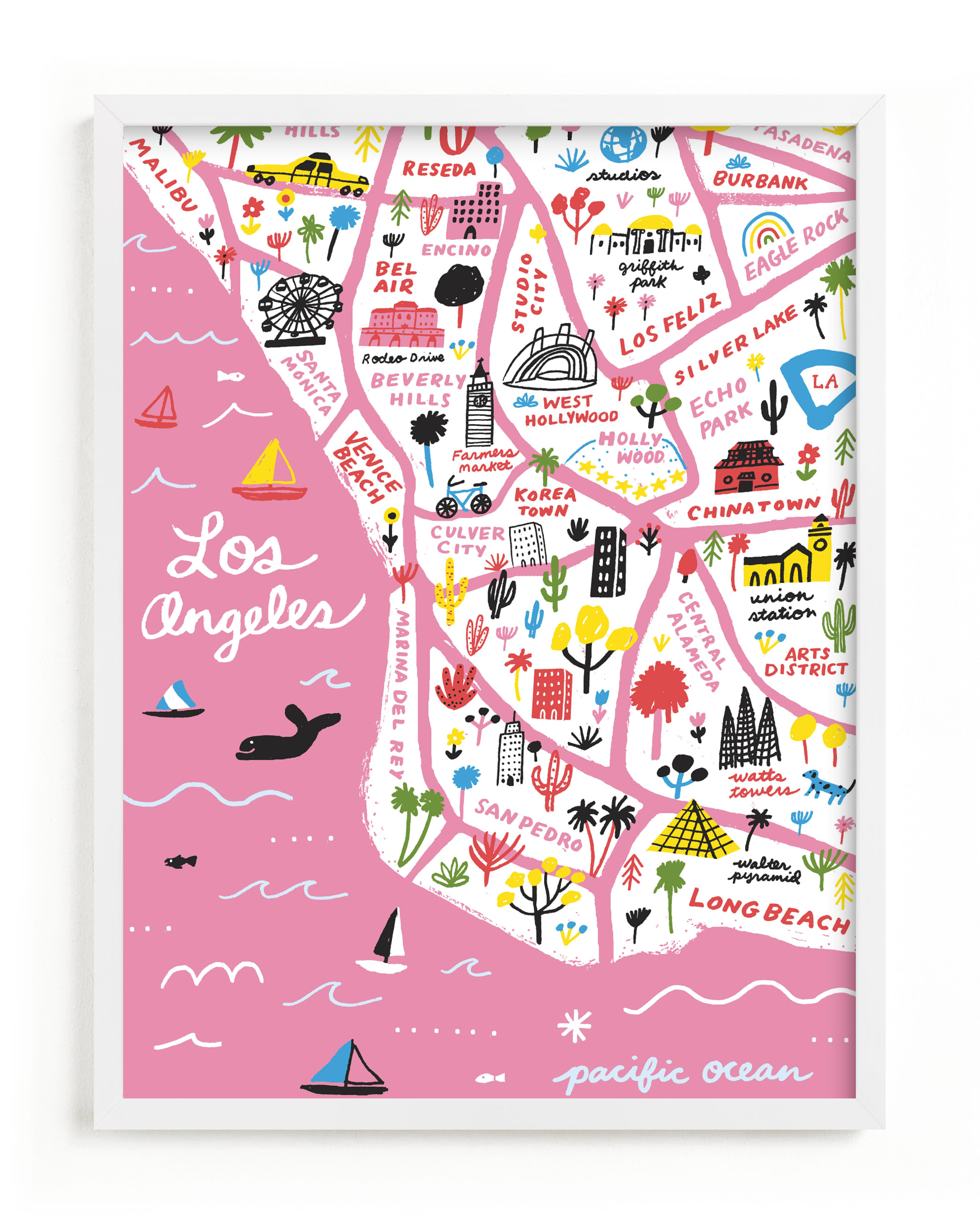"""""""I Love Los Angeles"""" - Limited Edition Art Print by Jordan Sondler in beautiful frame options and a variety of sizes."""