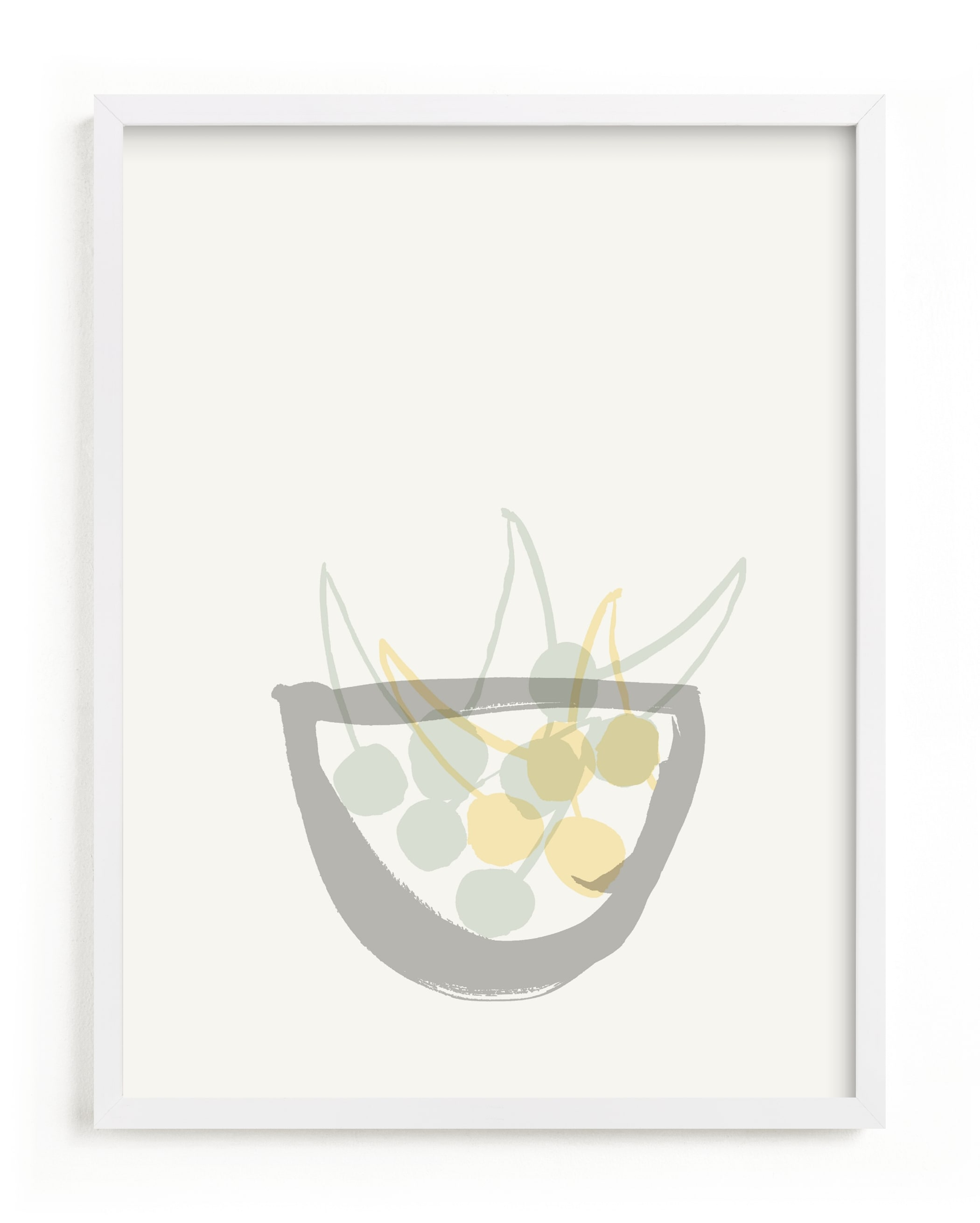 This is a yellow art by Sonya Percival called Life is a bowl of cherries.