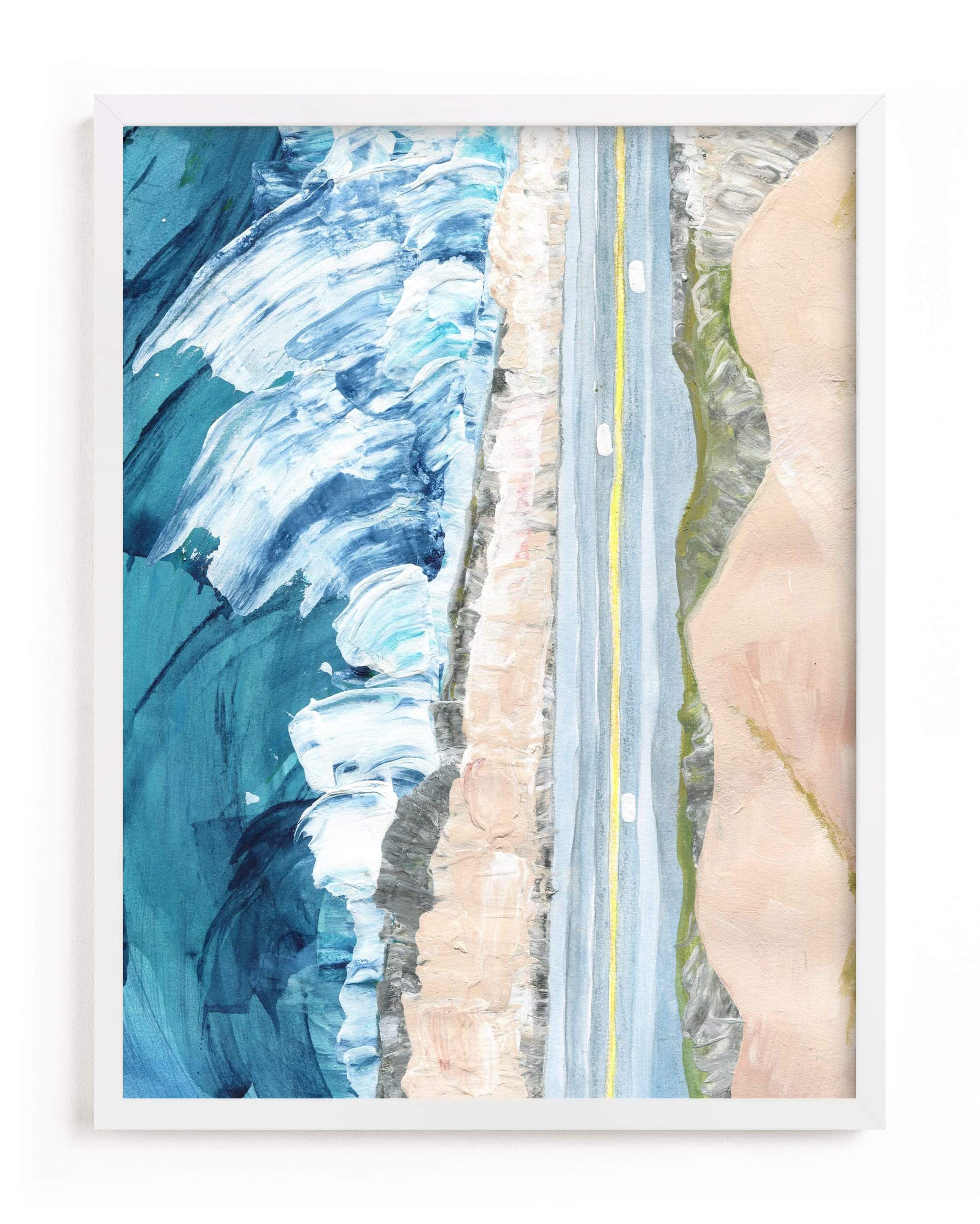 This is a blue art by Denise Wong called Pacific Coast Highway.